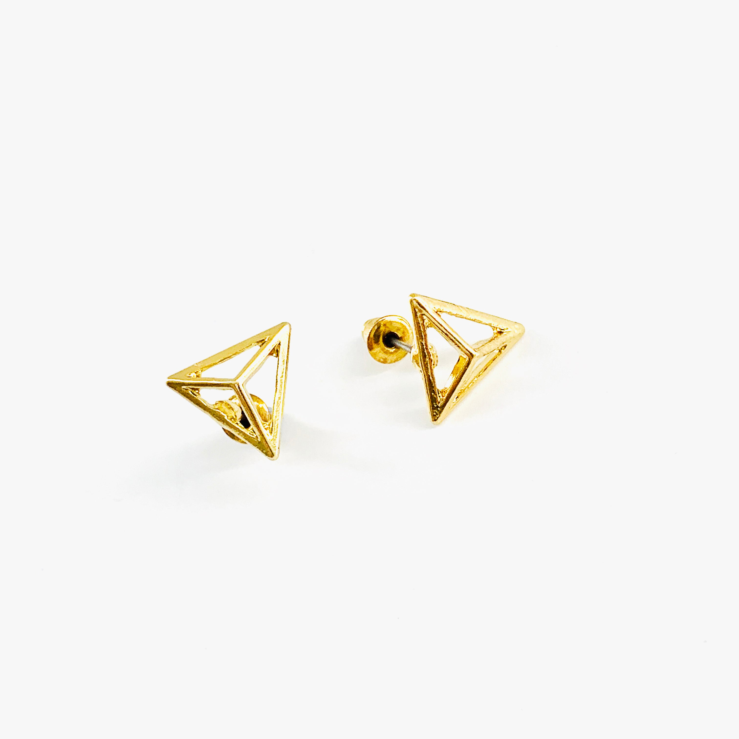 Hollow triangle pyramid gold ear studs