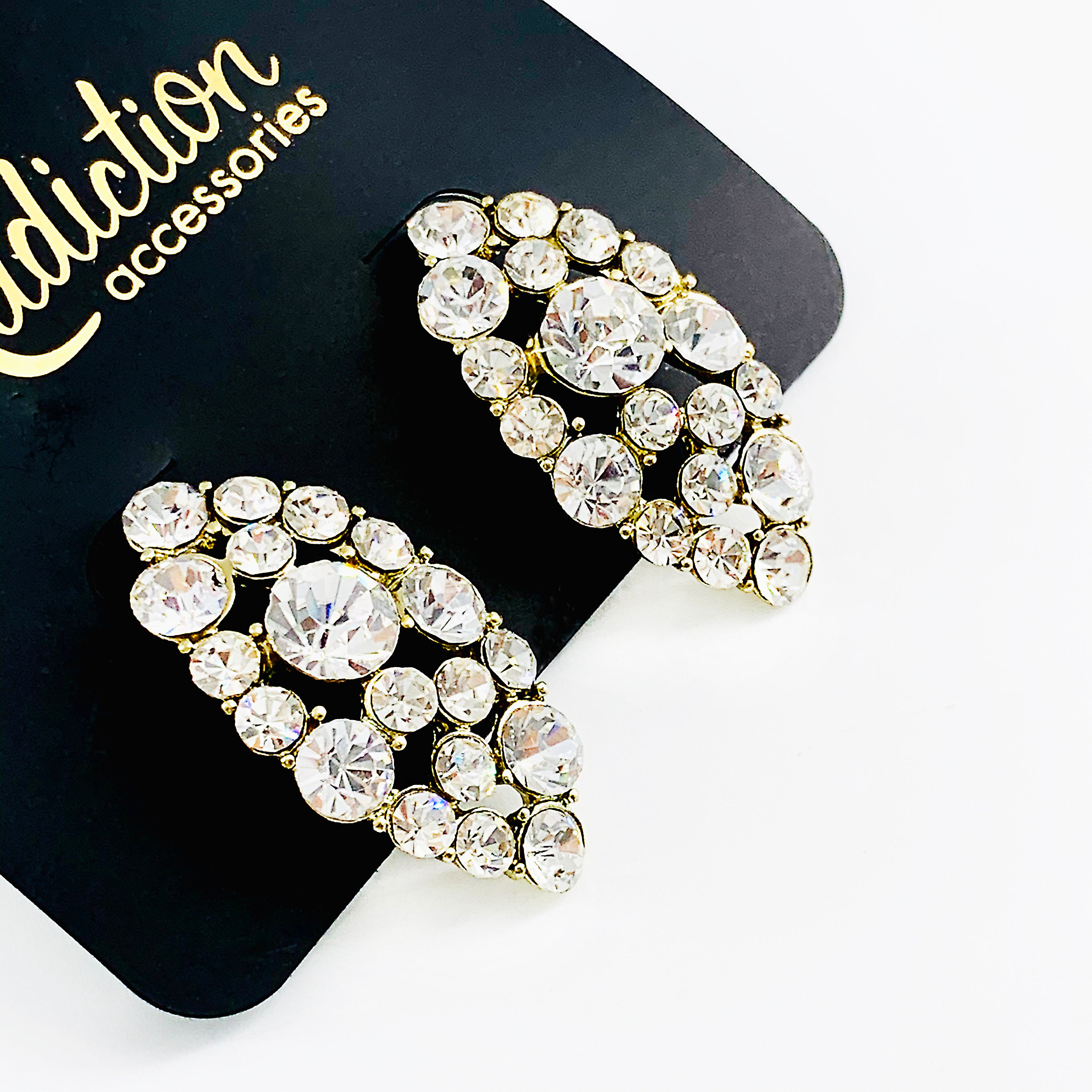 Earrings embellished with diamante stones
