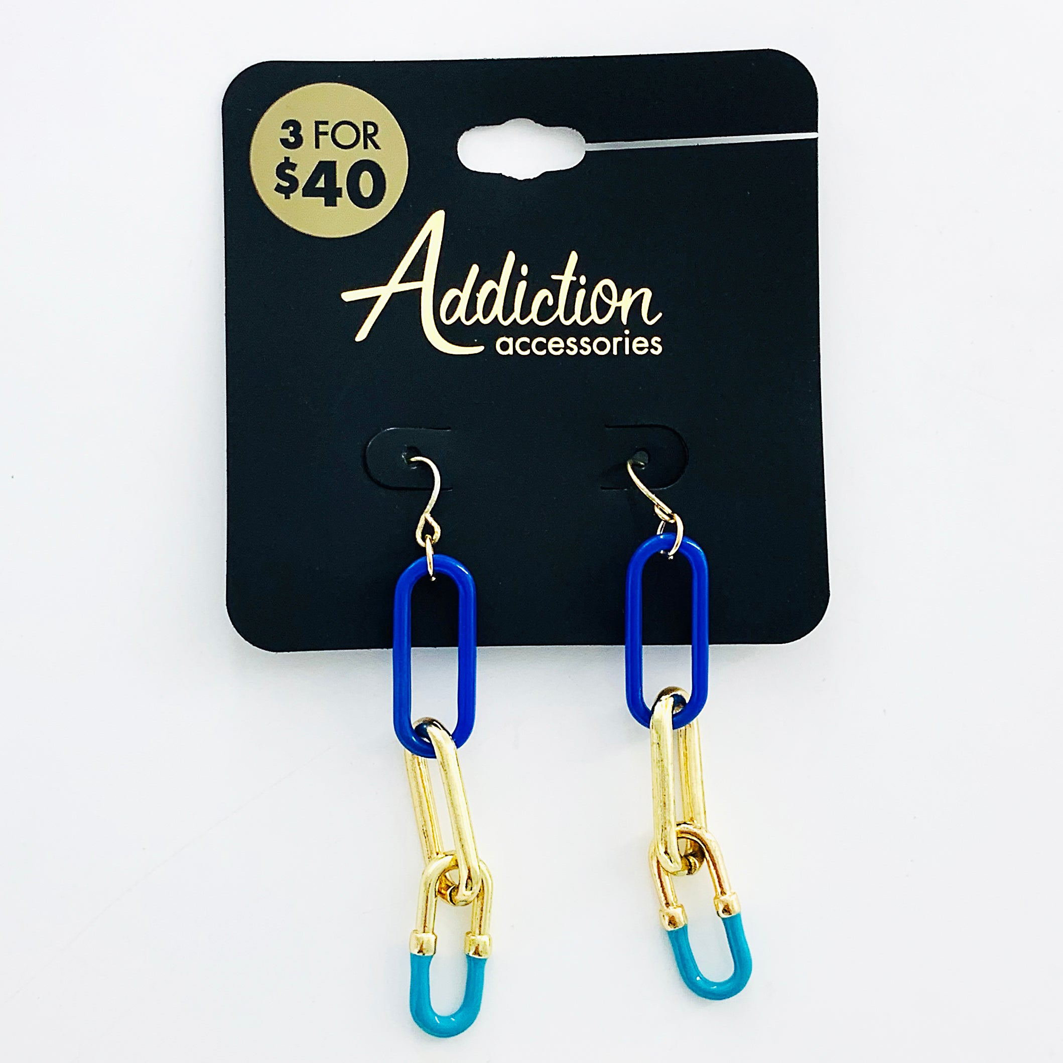 Interlocking blue, gold and turquoise loops