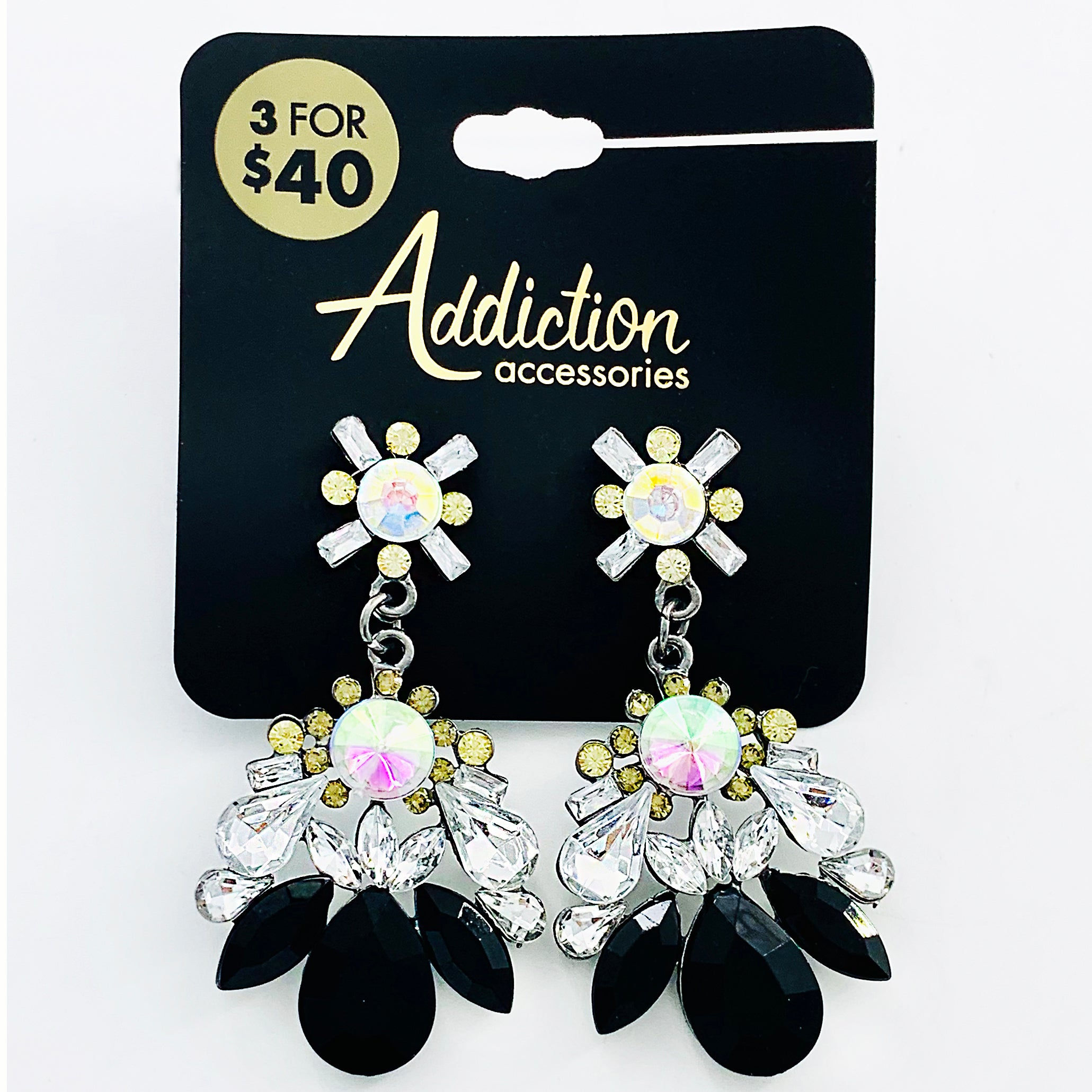 Fancy earrings with black and yellow gems