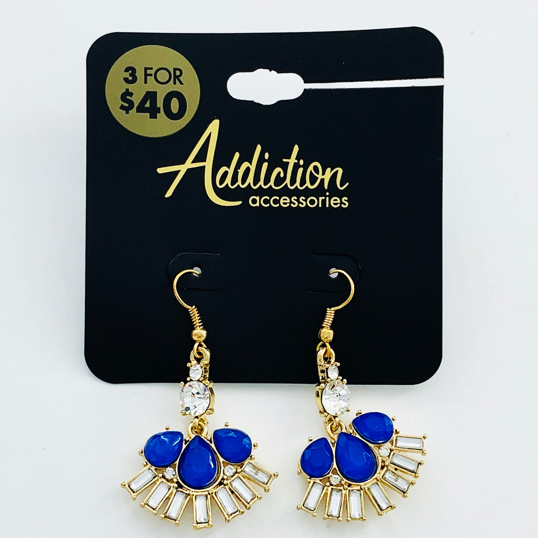 Art-deco inspired blue earrings with baguette stones