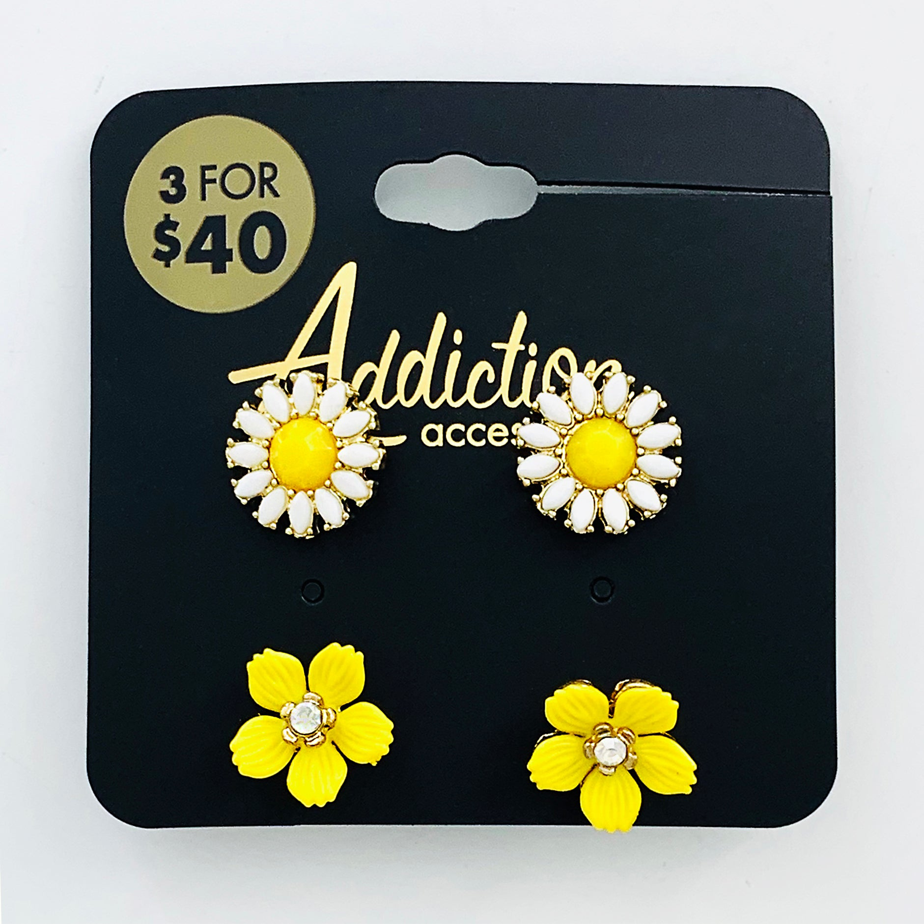Yellow flower earrings in 2 styles