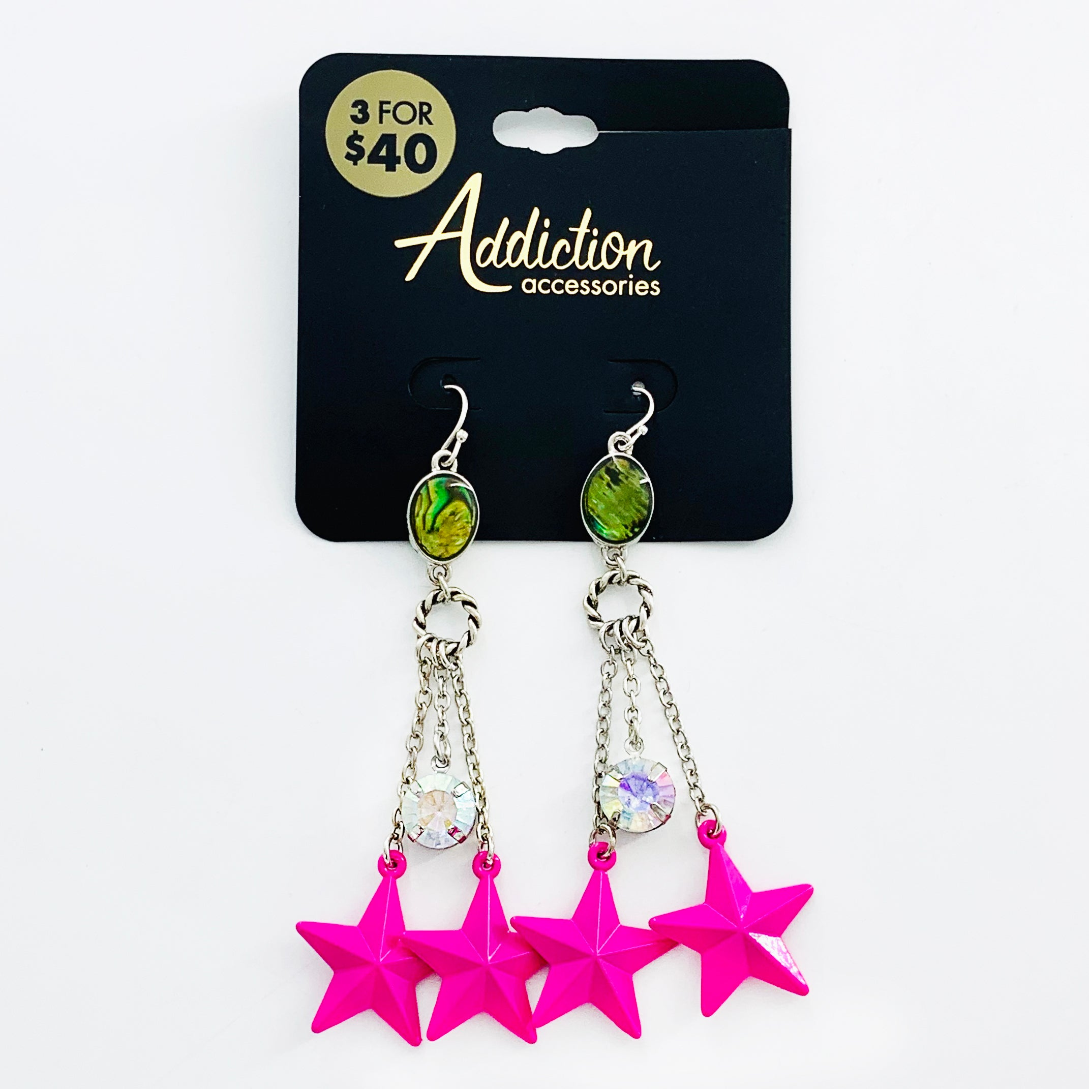 Hot Pink stars with dangling chains and gems