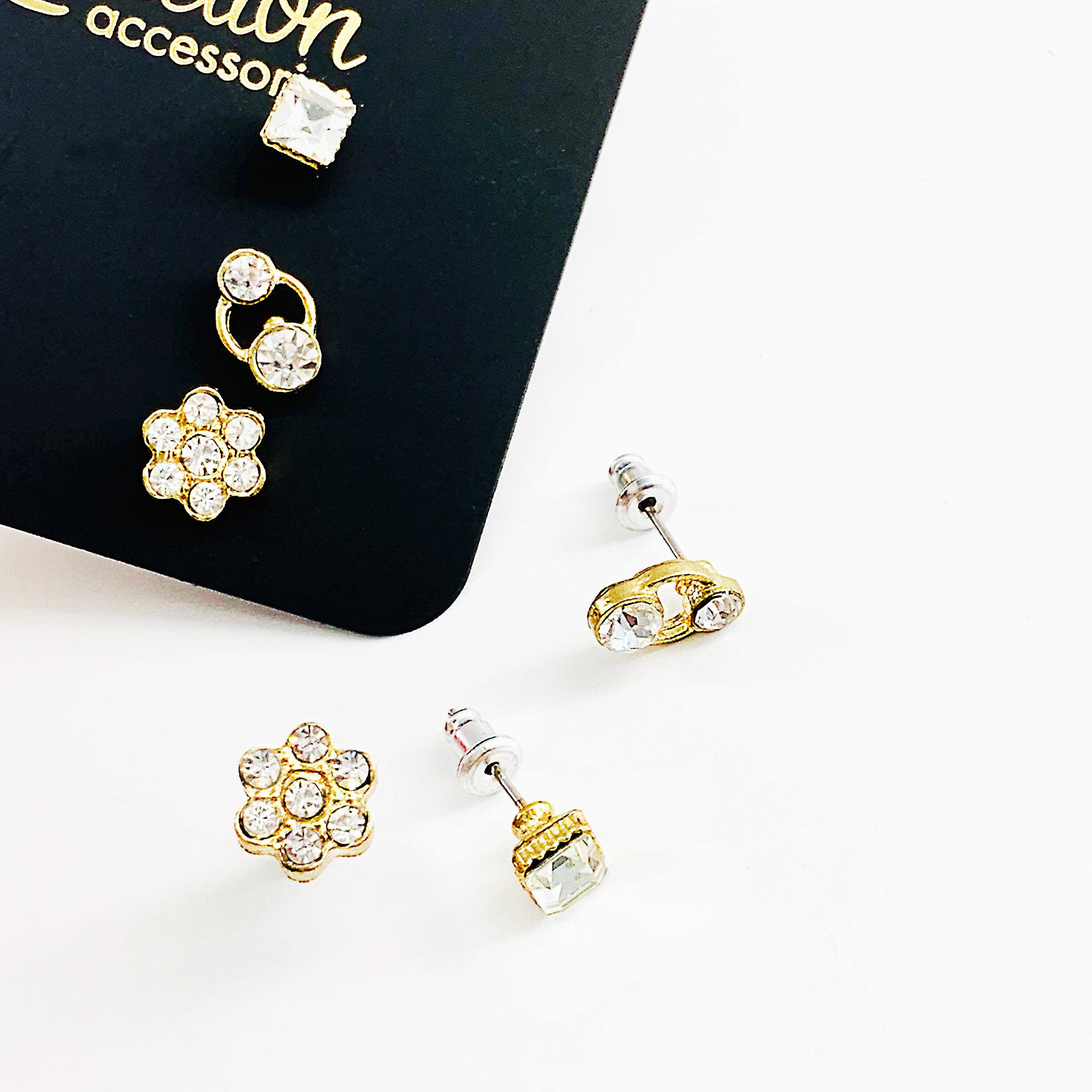 Flower diamante and square cut studs