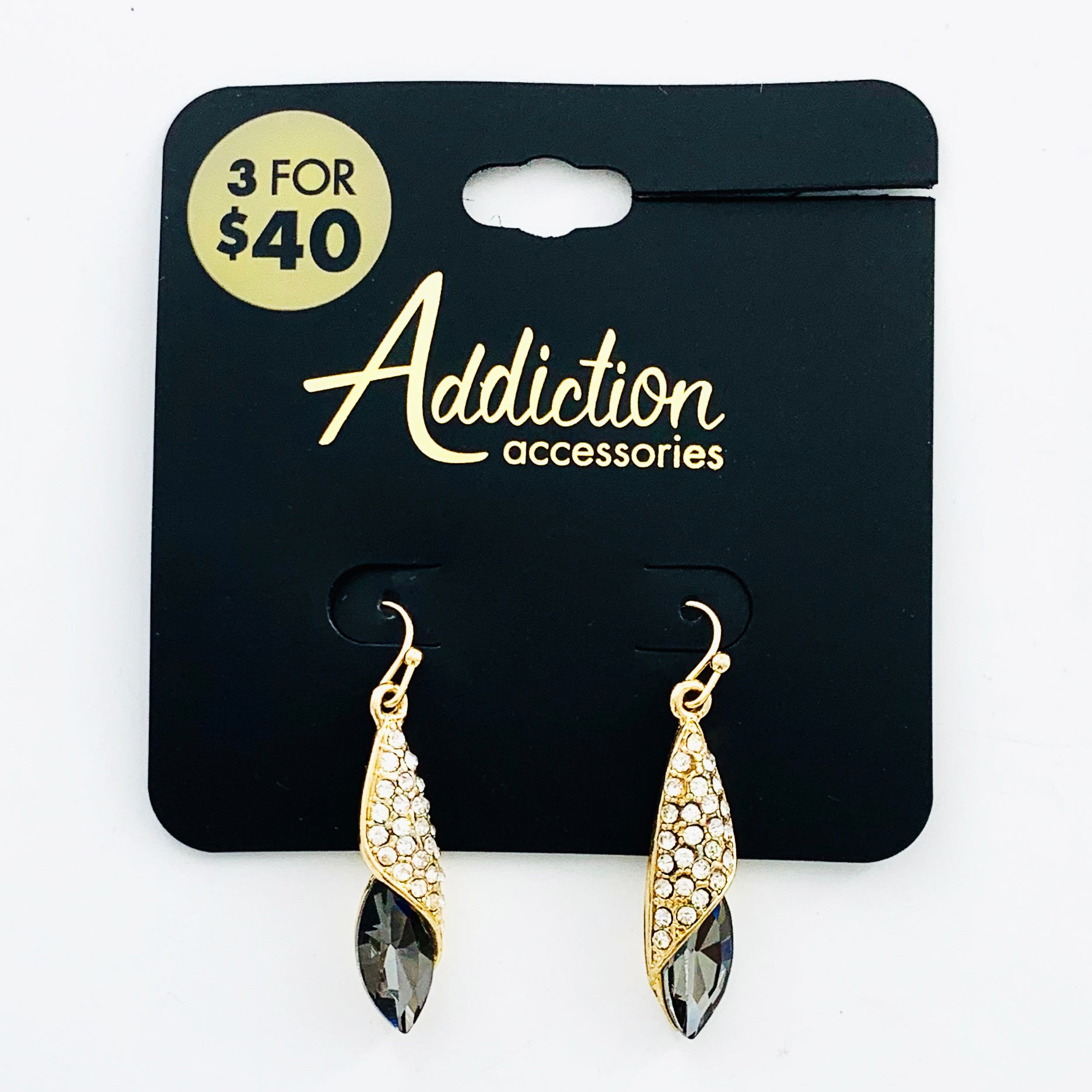 Dangling gold earrings with diamante and grey facet stones