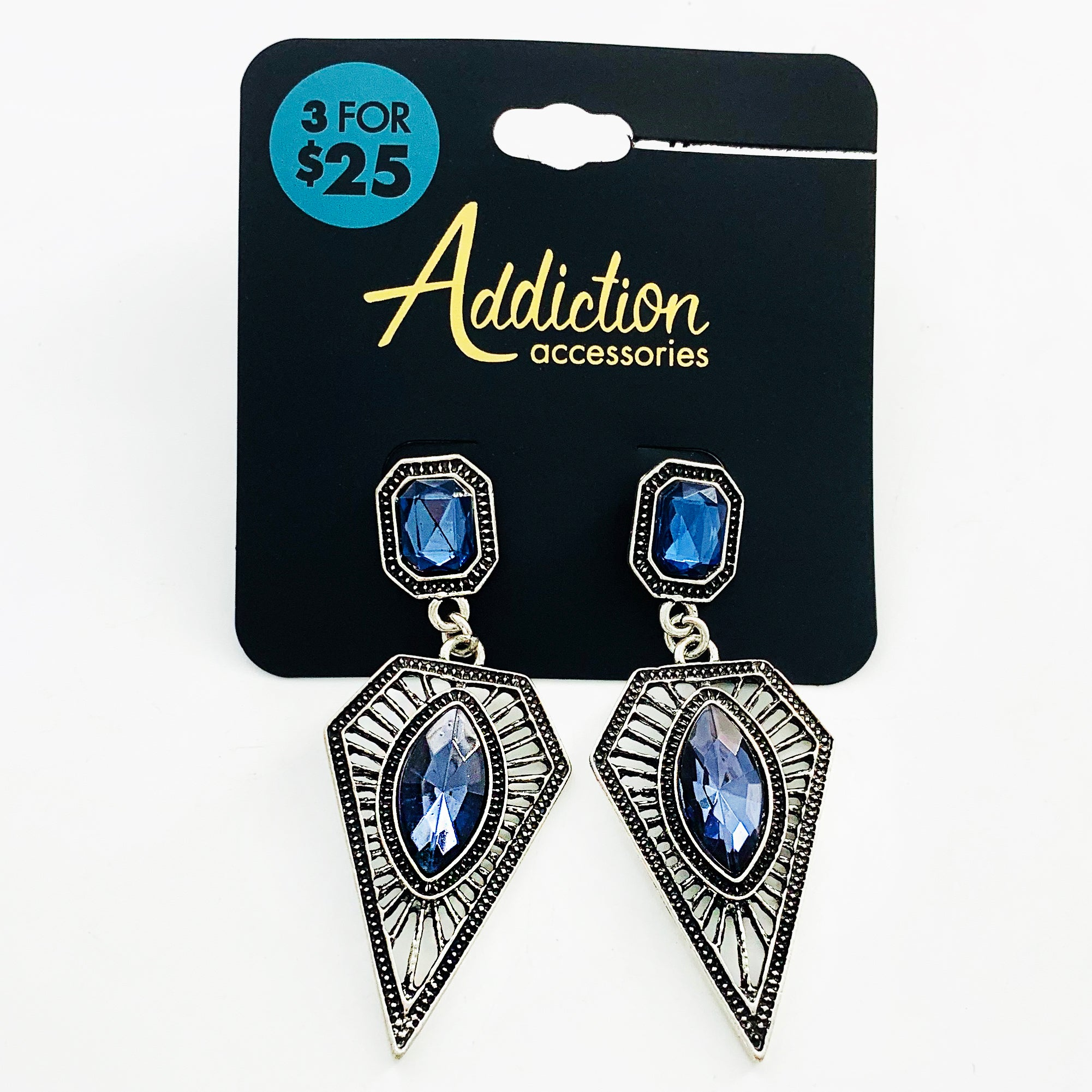 Art-deco inspired rustic silver earrings with blue gems