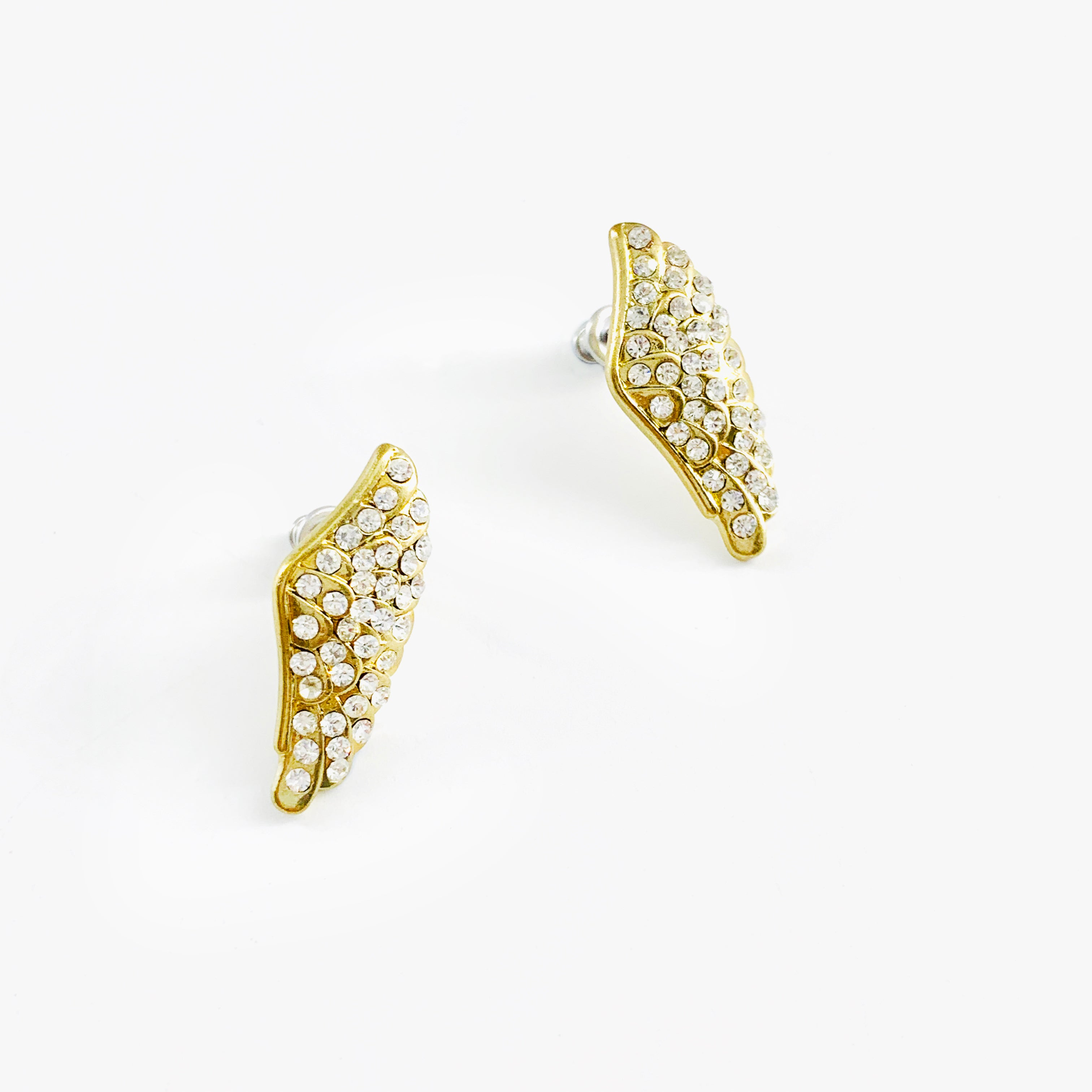 Gold wing earrings with diamante stones