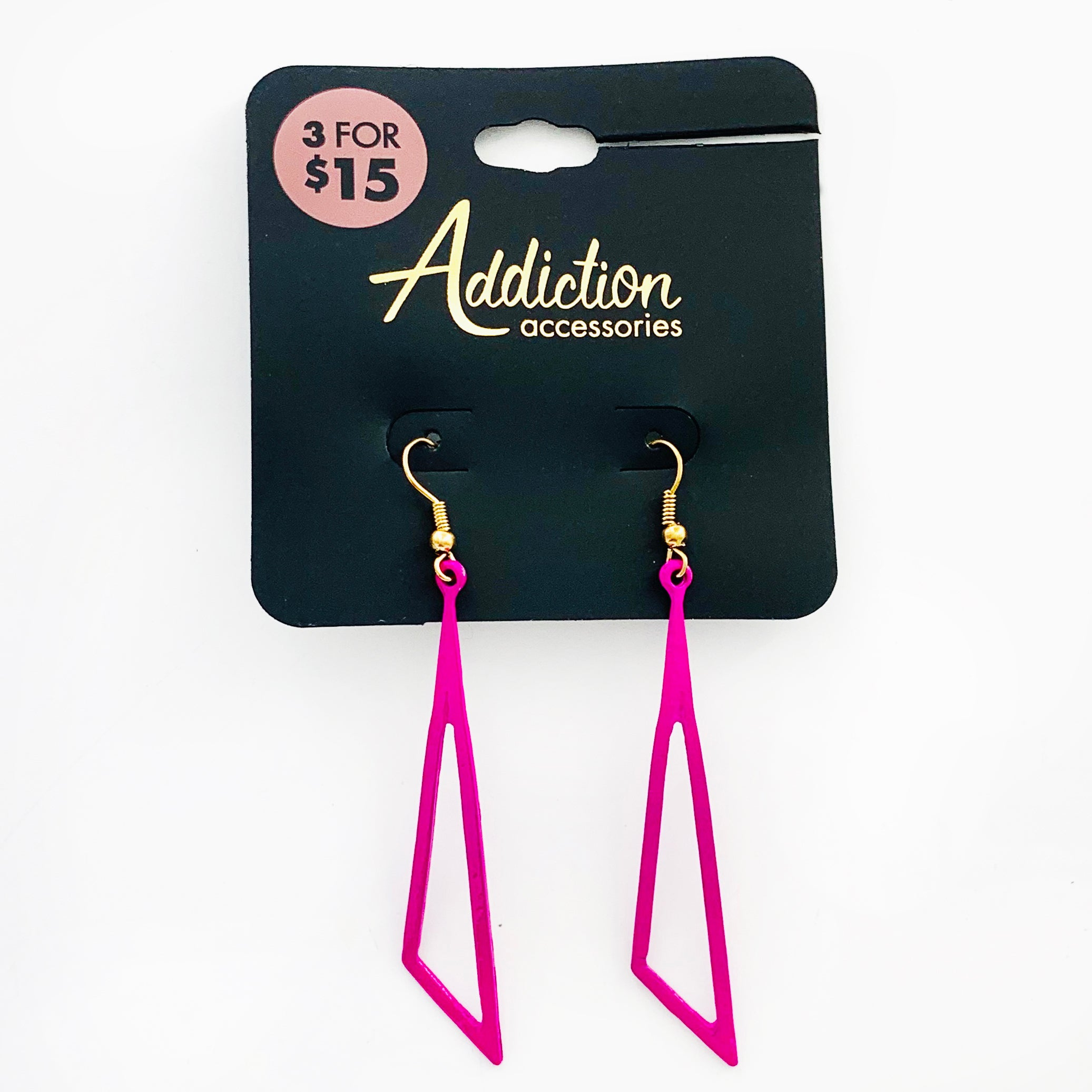 Violet triangle dangling earrings