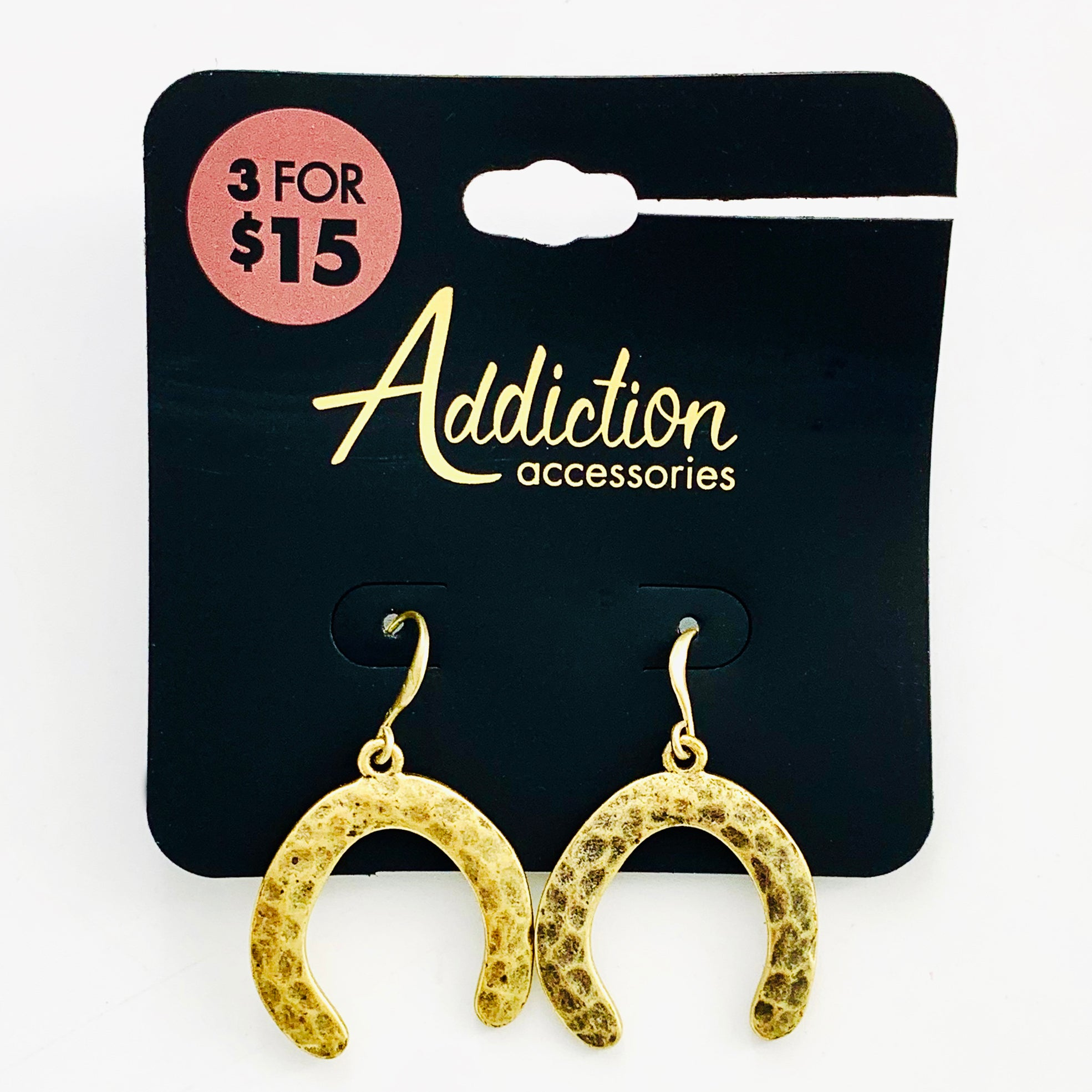 Rustic gold horseshoe dangling earring