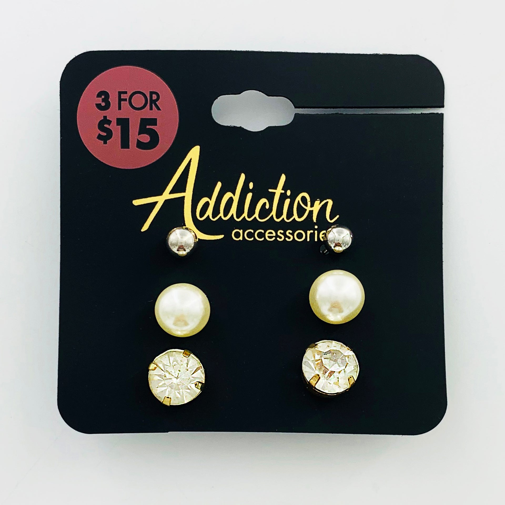 Diamante ear studs with pearl and silver ball earrings