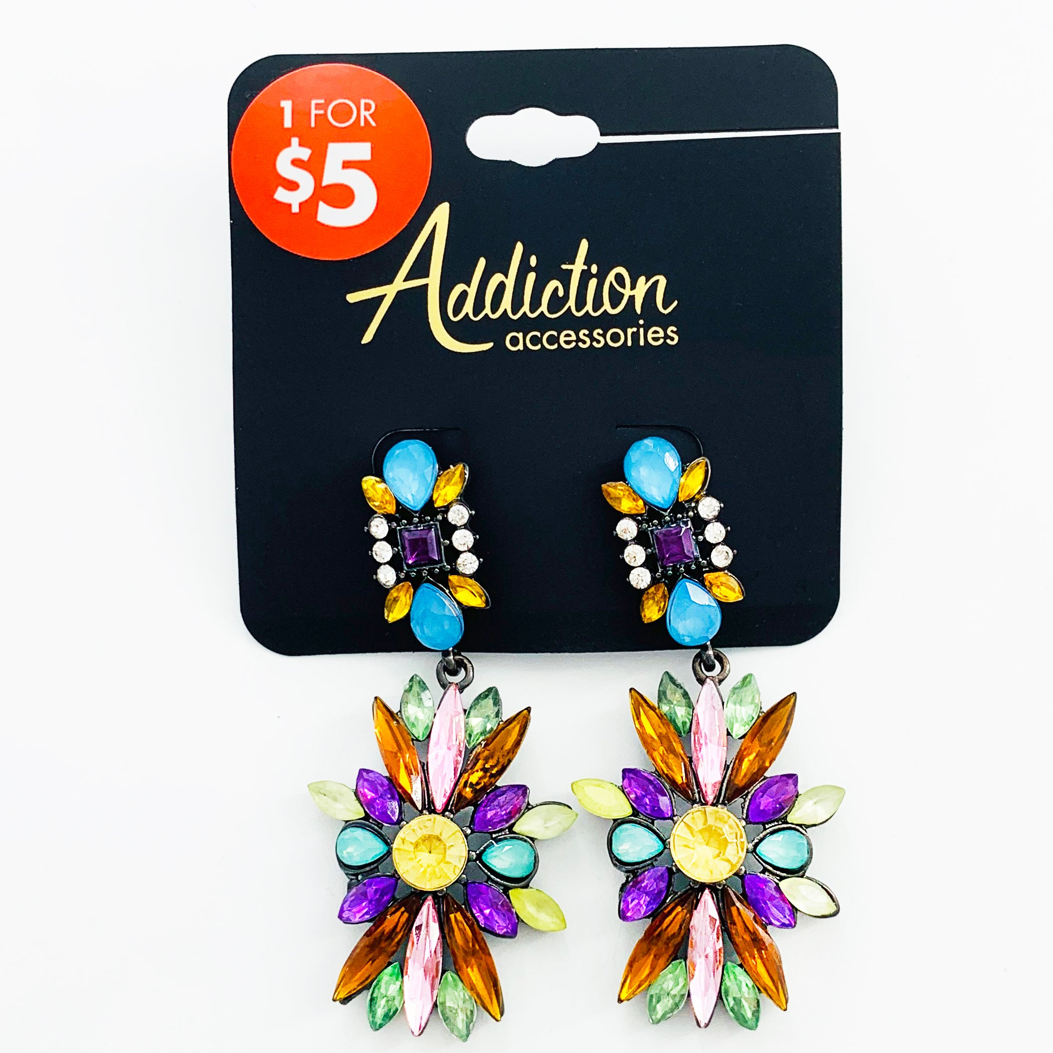 Art-deco inspired starburst earrings with colourful stones