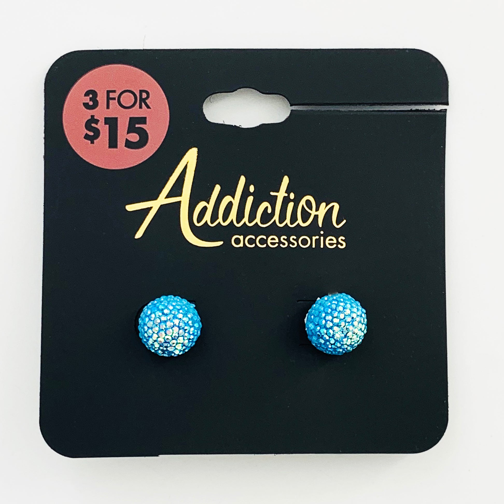 Sparkly blue ball ear studs