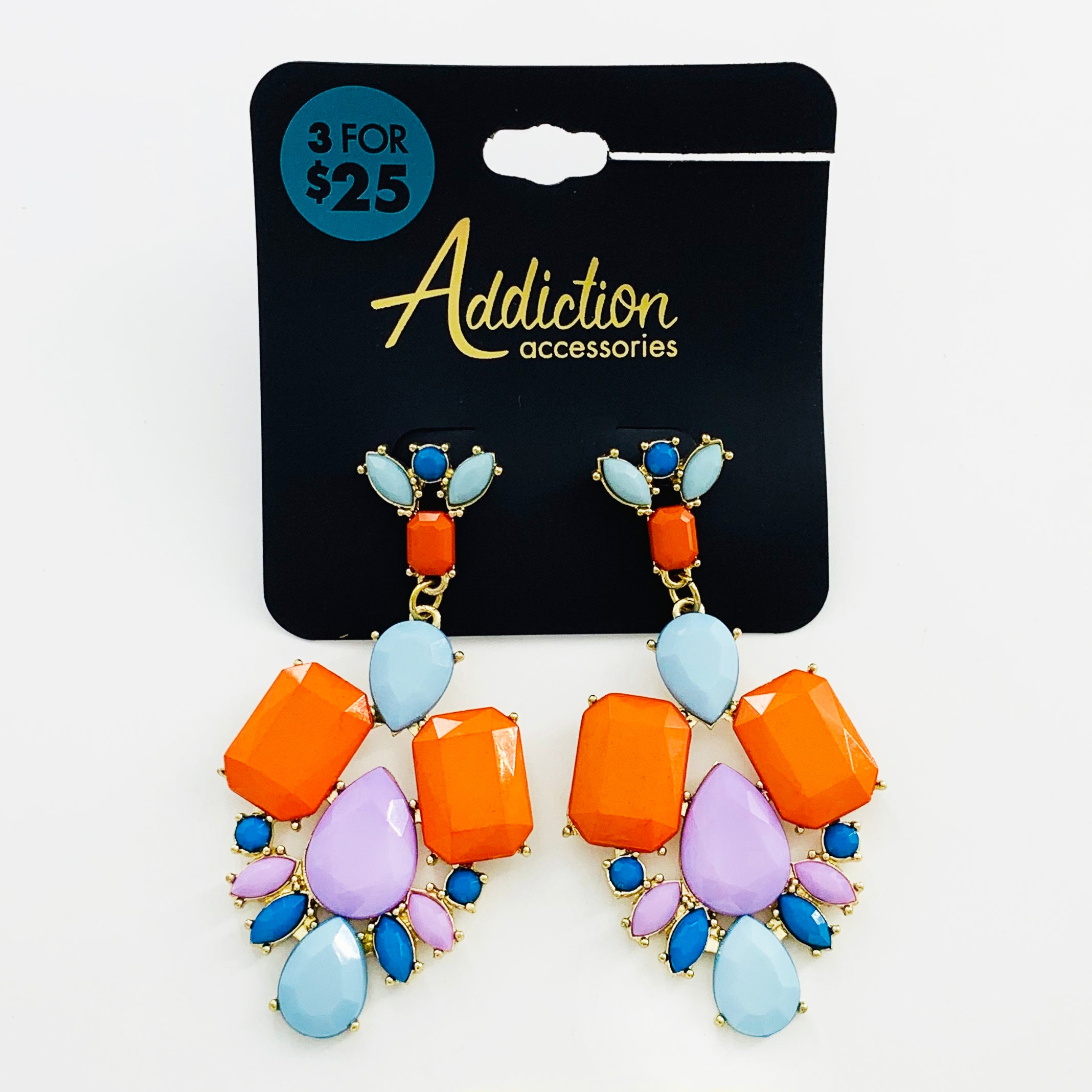 Earrings with faceted orange, lilac and blue stones