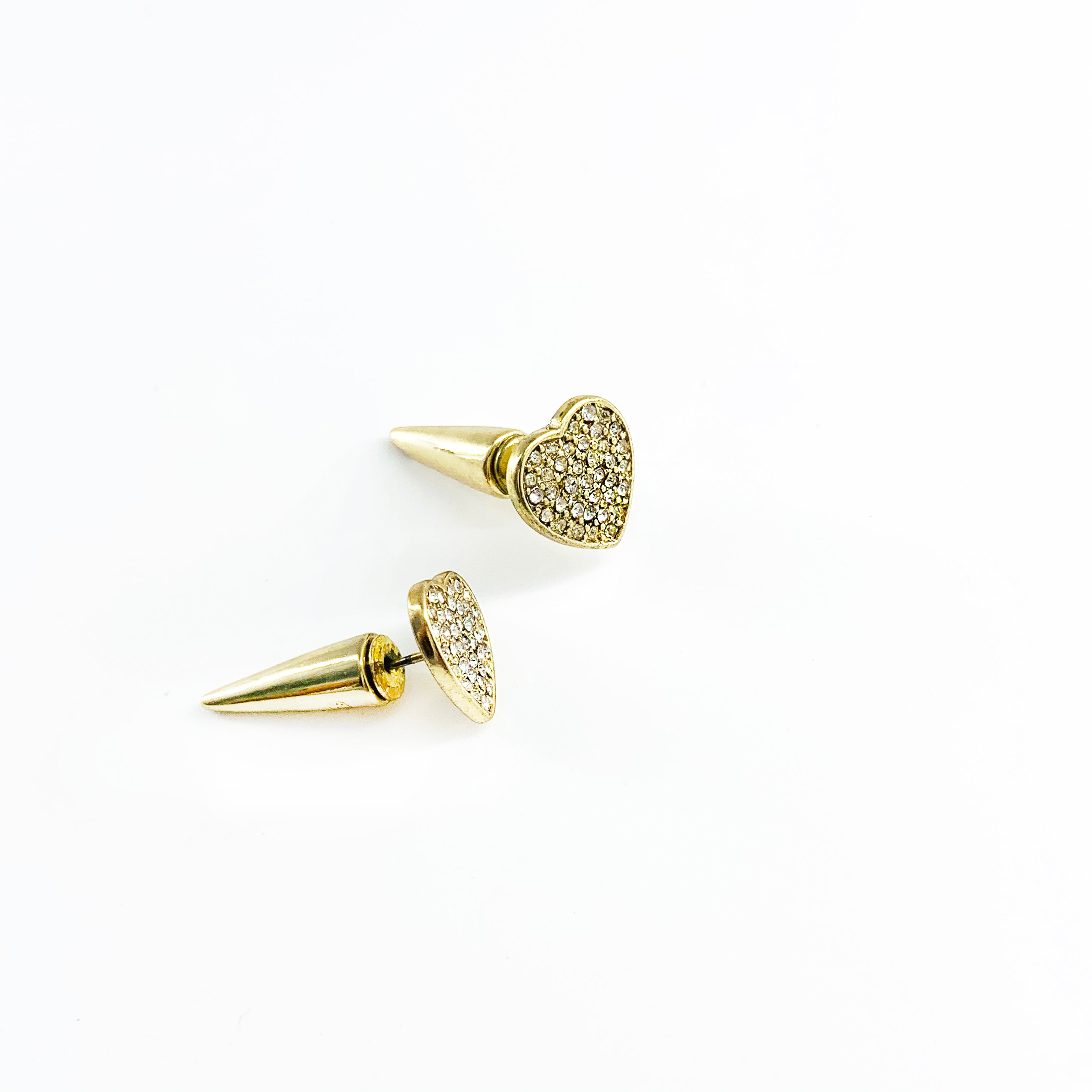 Gold diamante-encrusted heart earrings