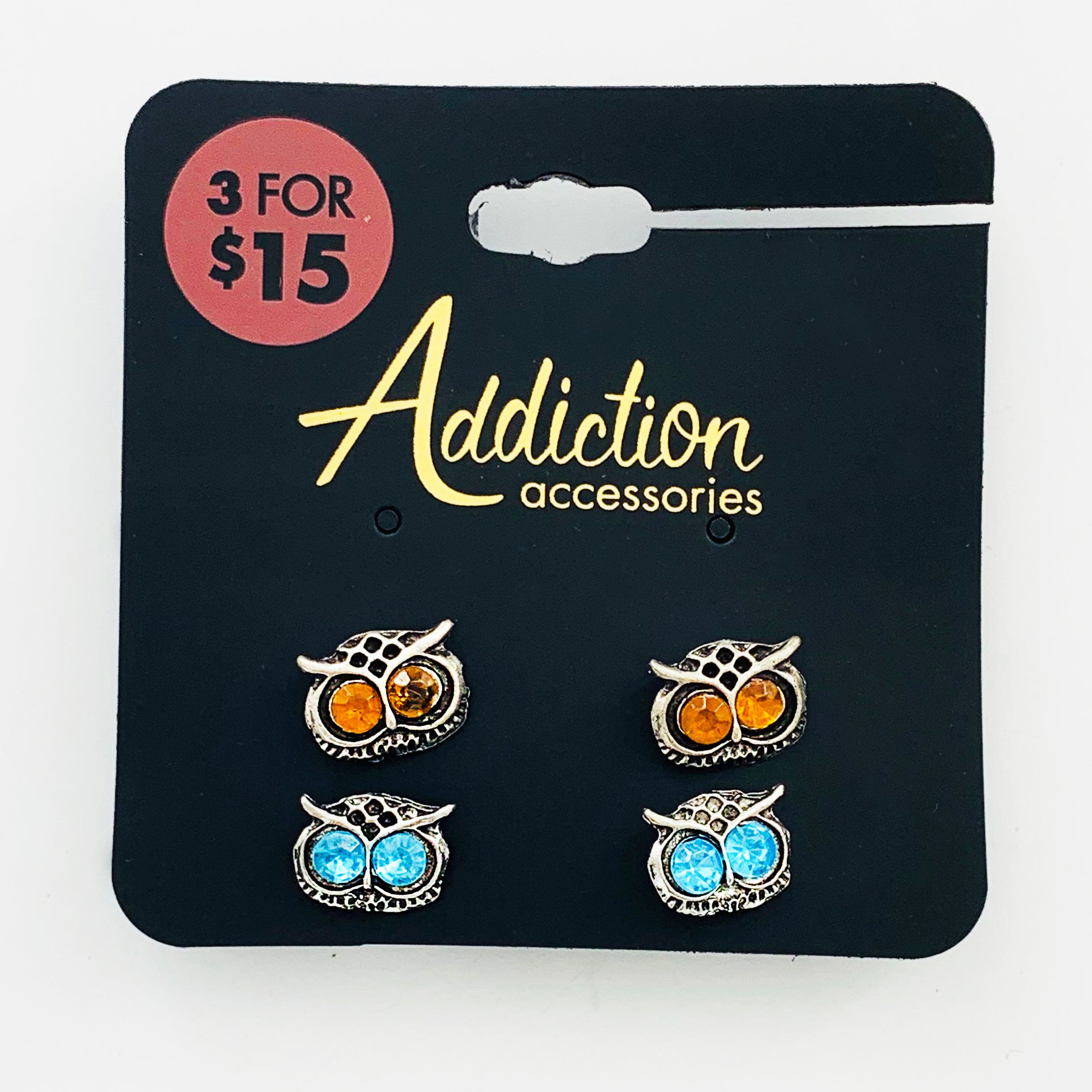 Owl earrings with blue and orange gems