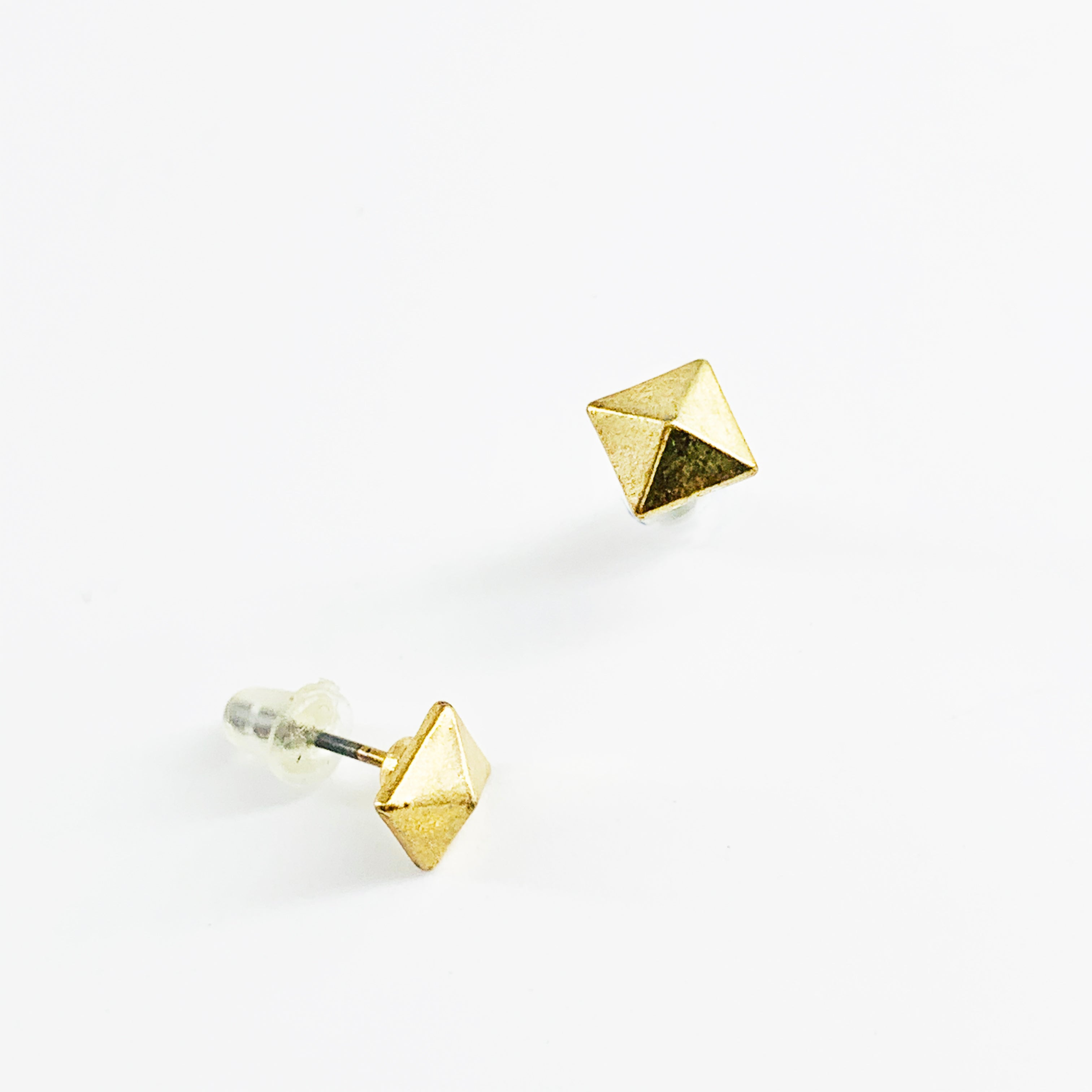 Mini gold pyramid earrings