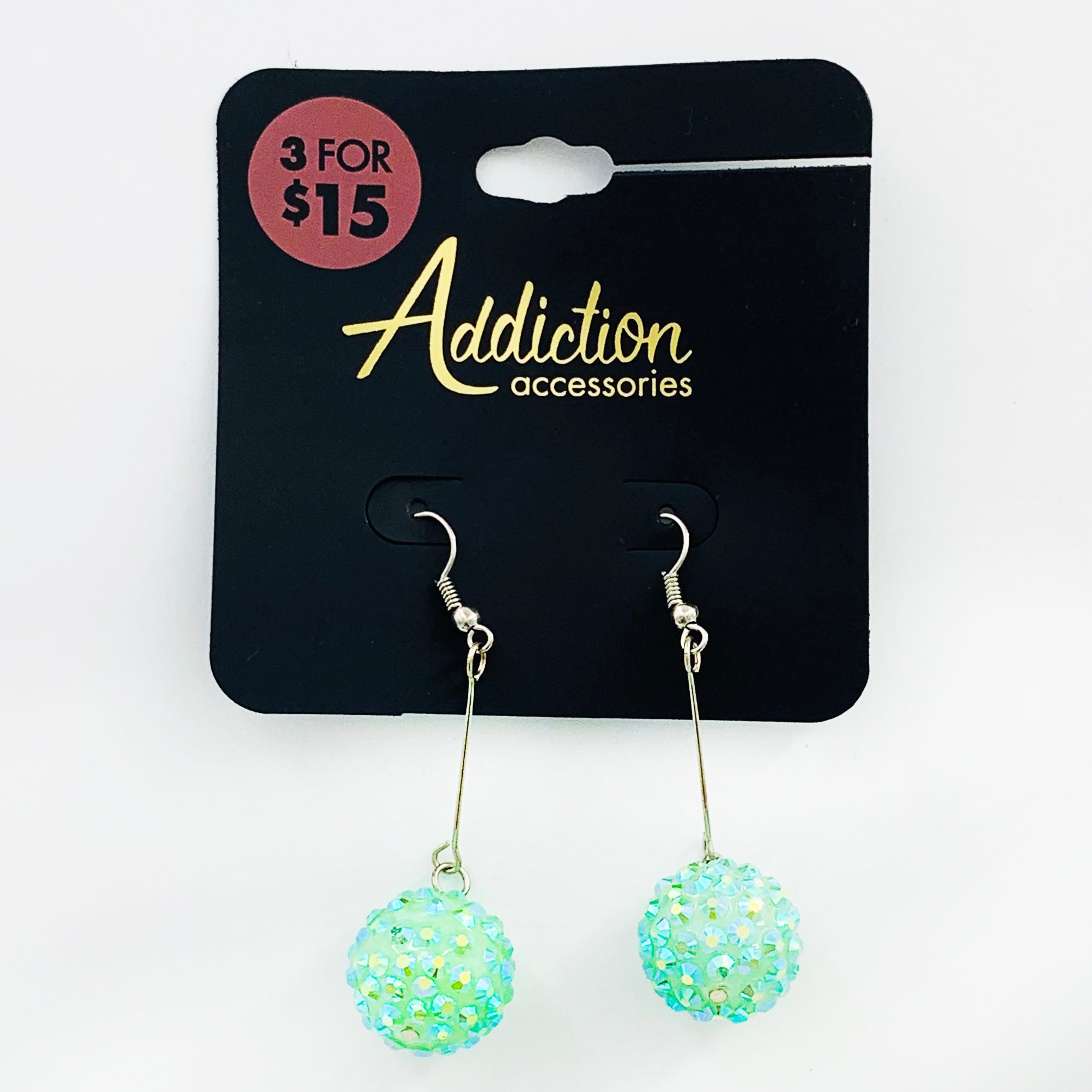 Sparkly turquoise ball earrings