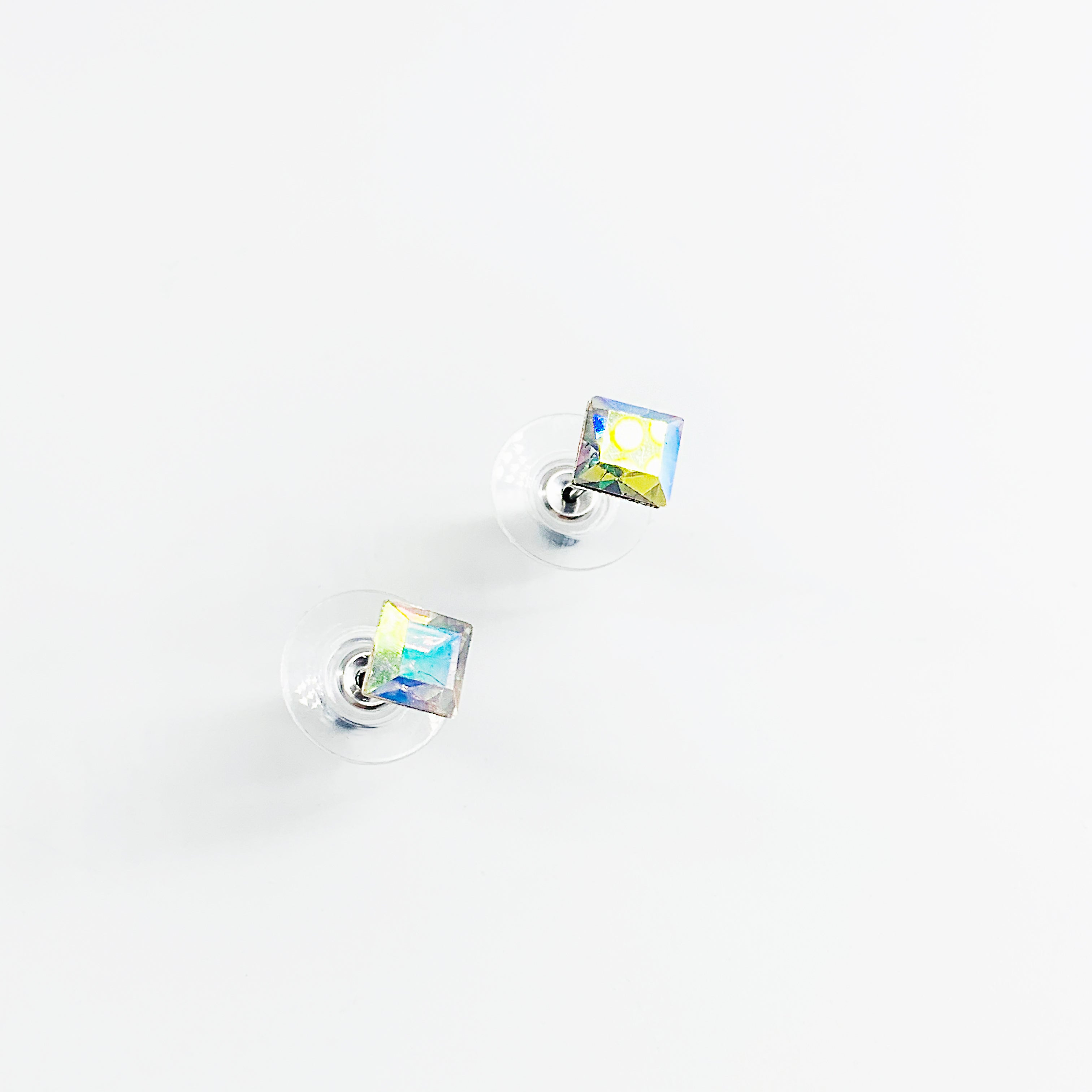 Small square holographic stone ear studs
