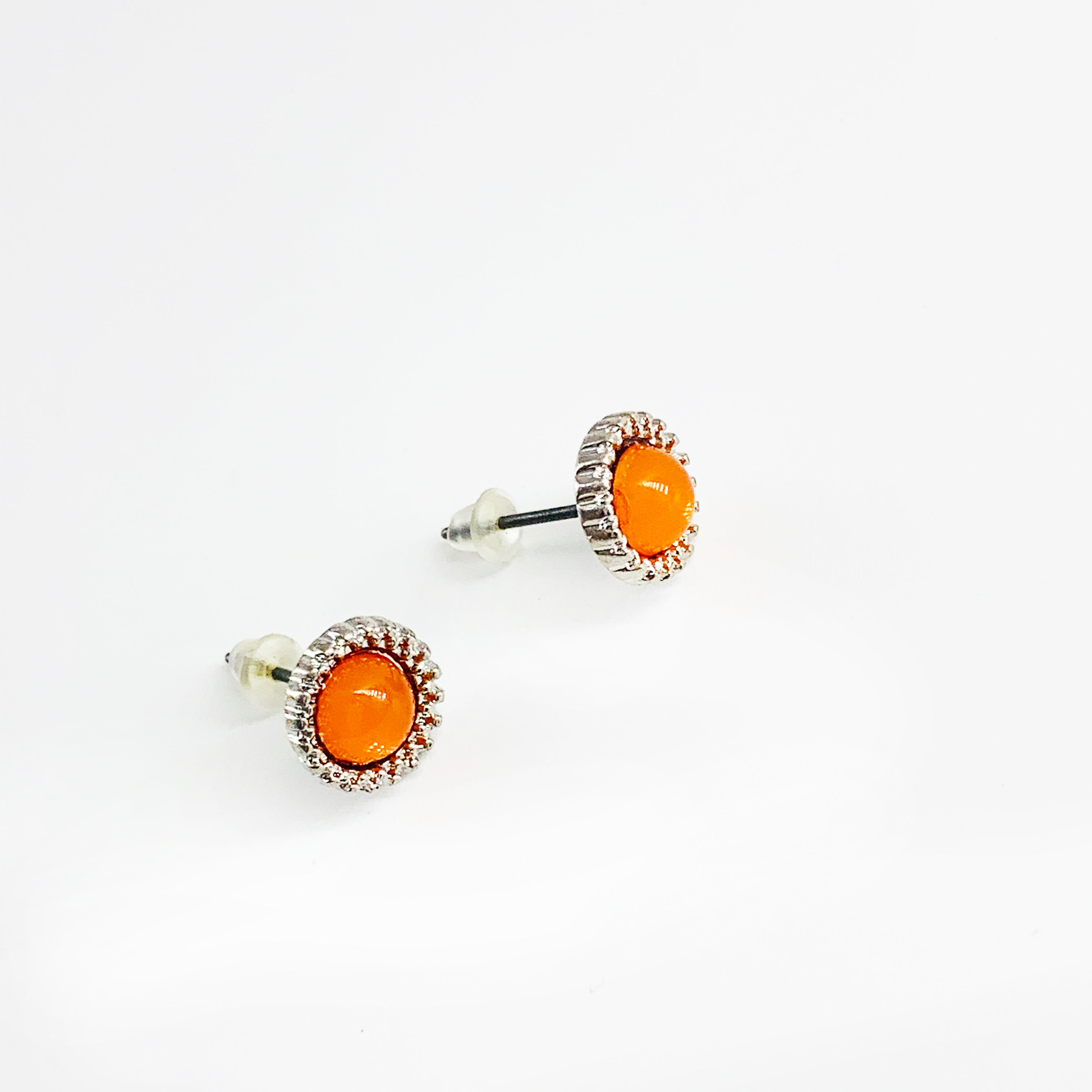 Small silver earrings with orange stone