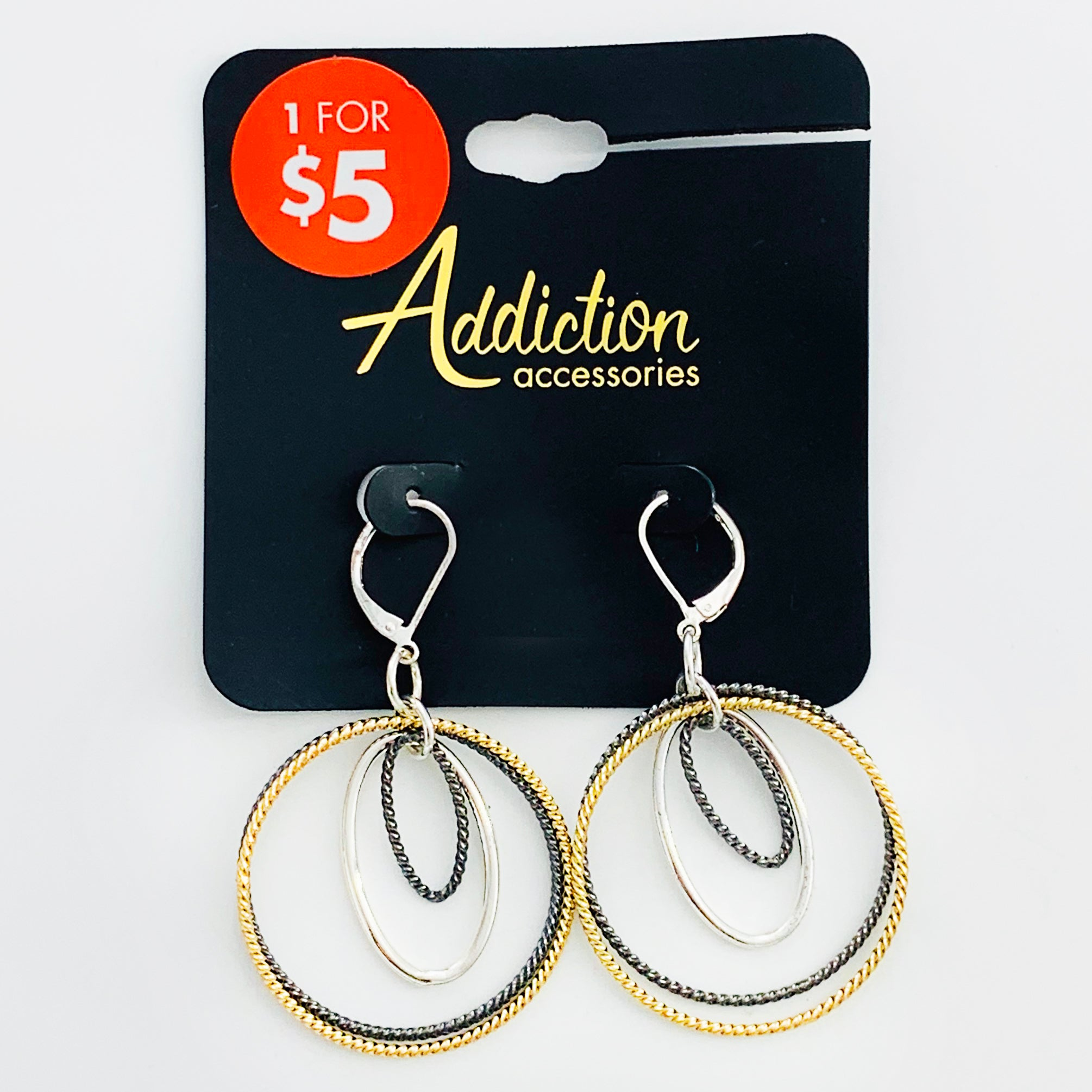 Hoop earrings in silver, gold, and grey