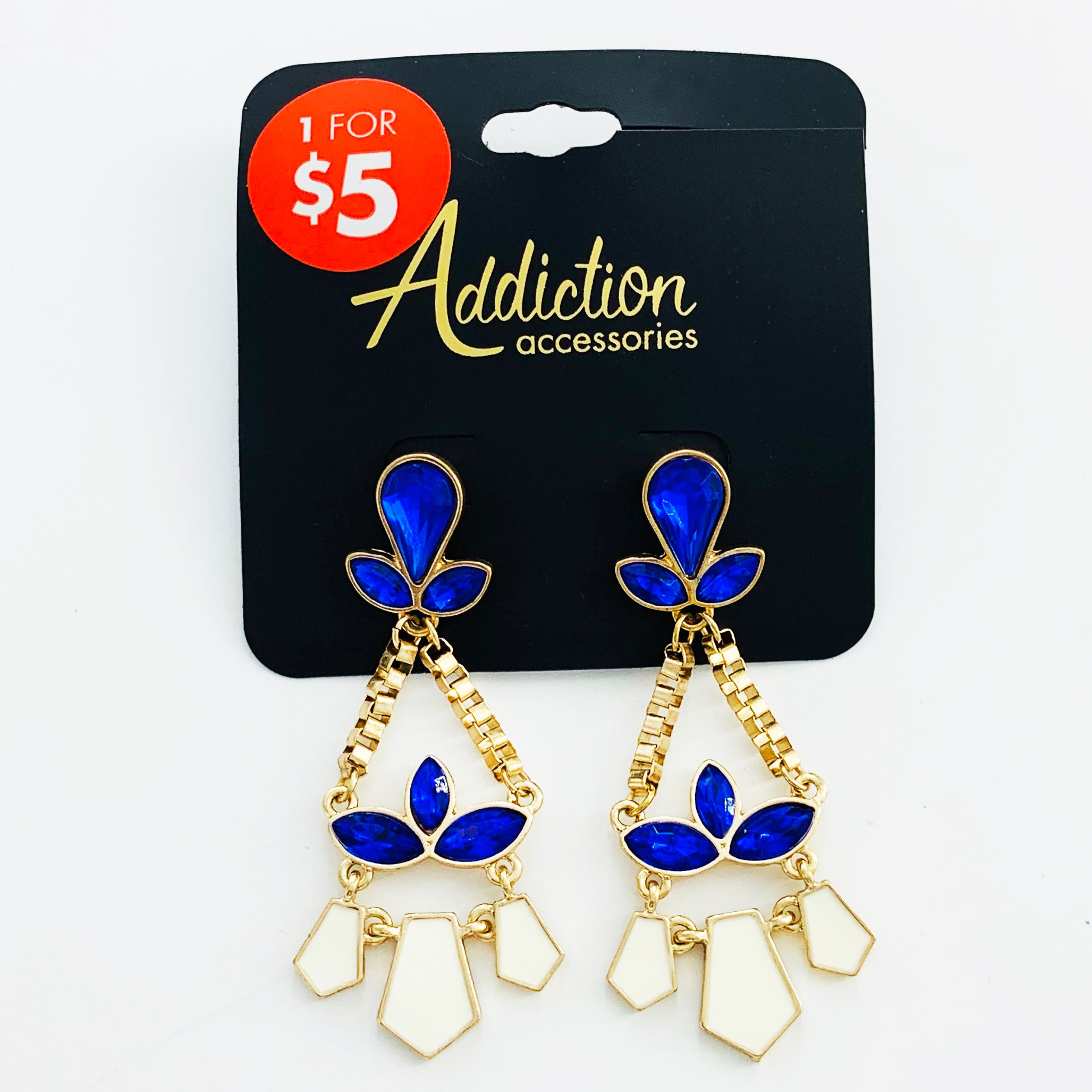 Earrings with blue and white stones