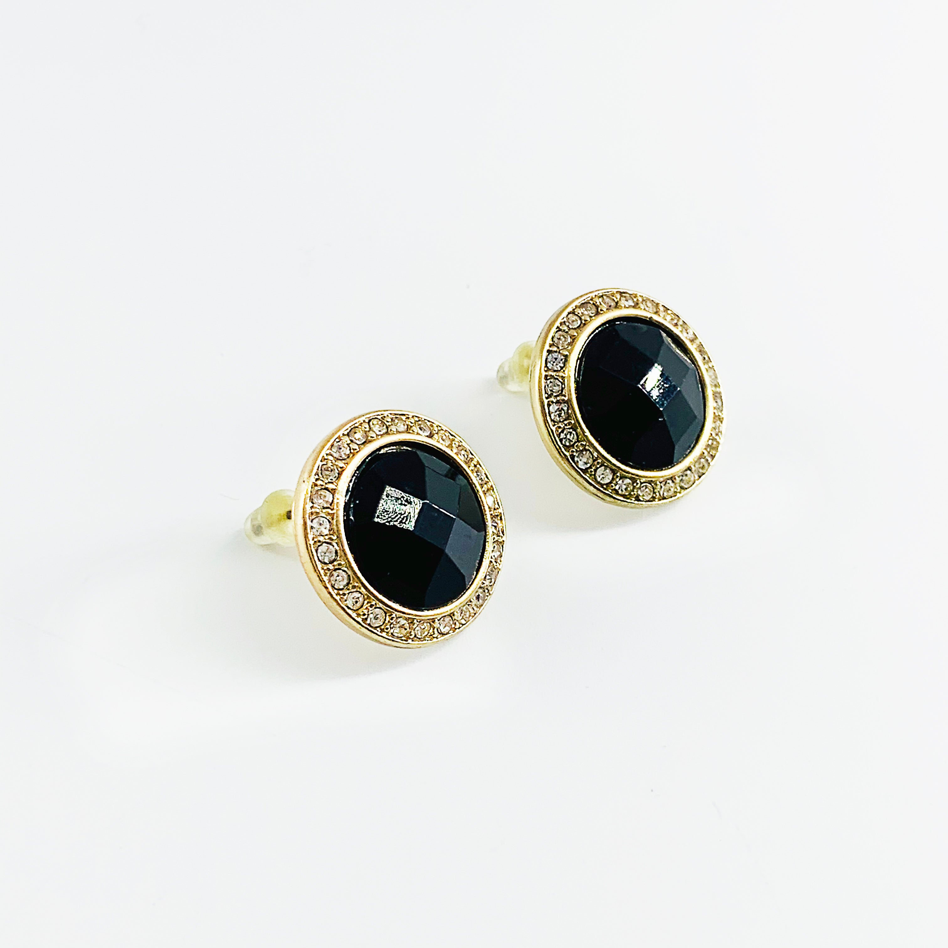 Round black facet earrings with diamante