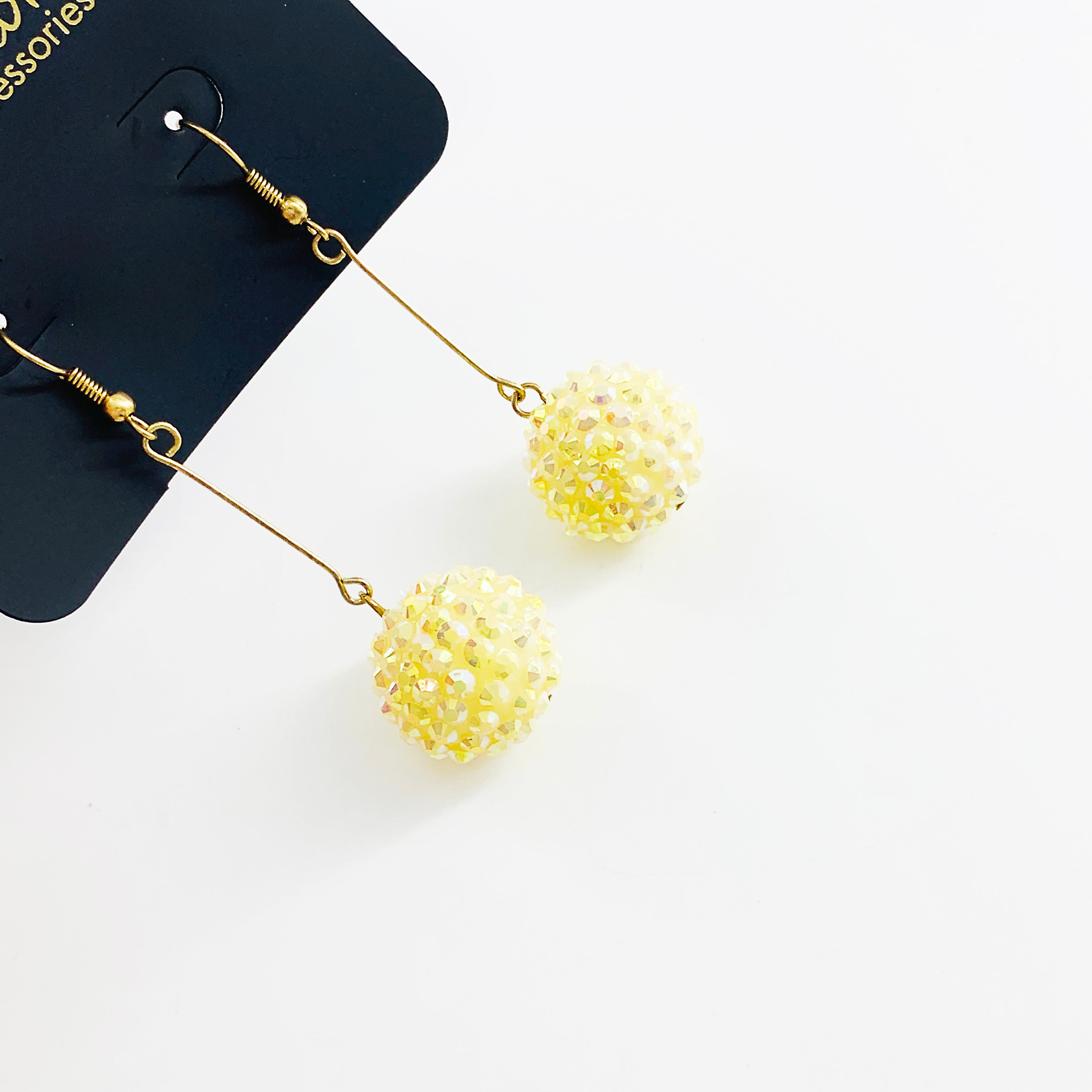 Sparkly yellow ball earrings