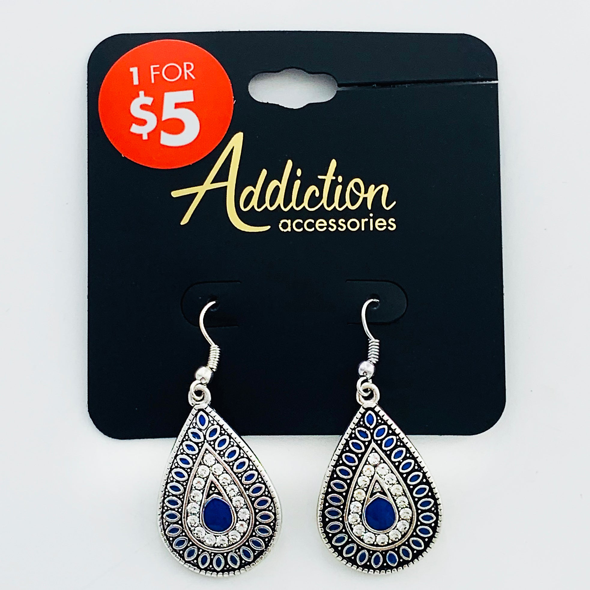 Ethnic-inspired dangling earrings with blue and diamante stones
