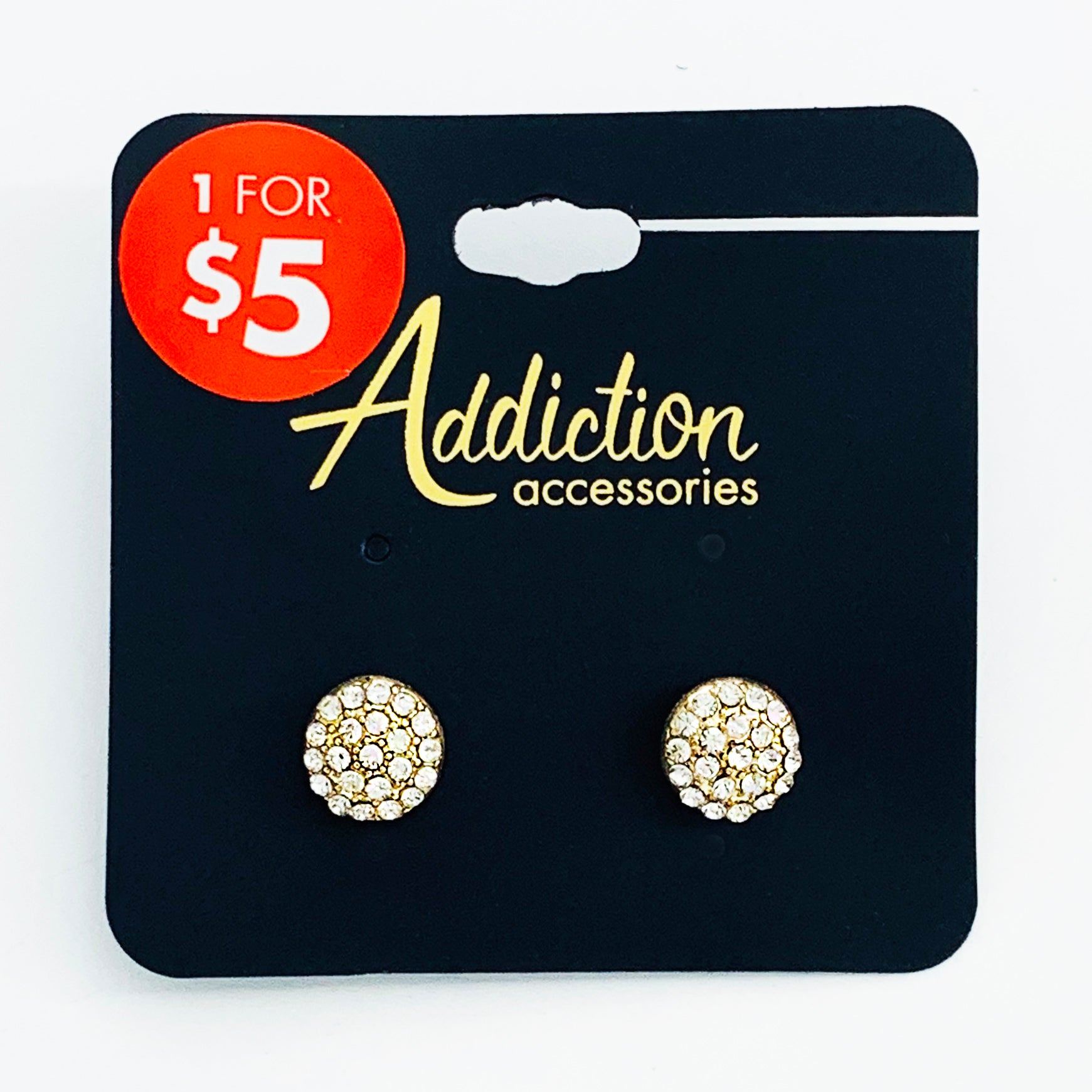 Round gold earrings with diamante gems