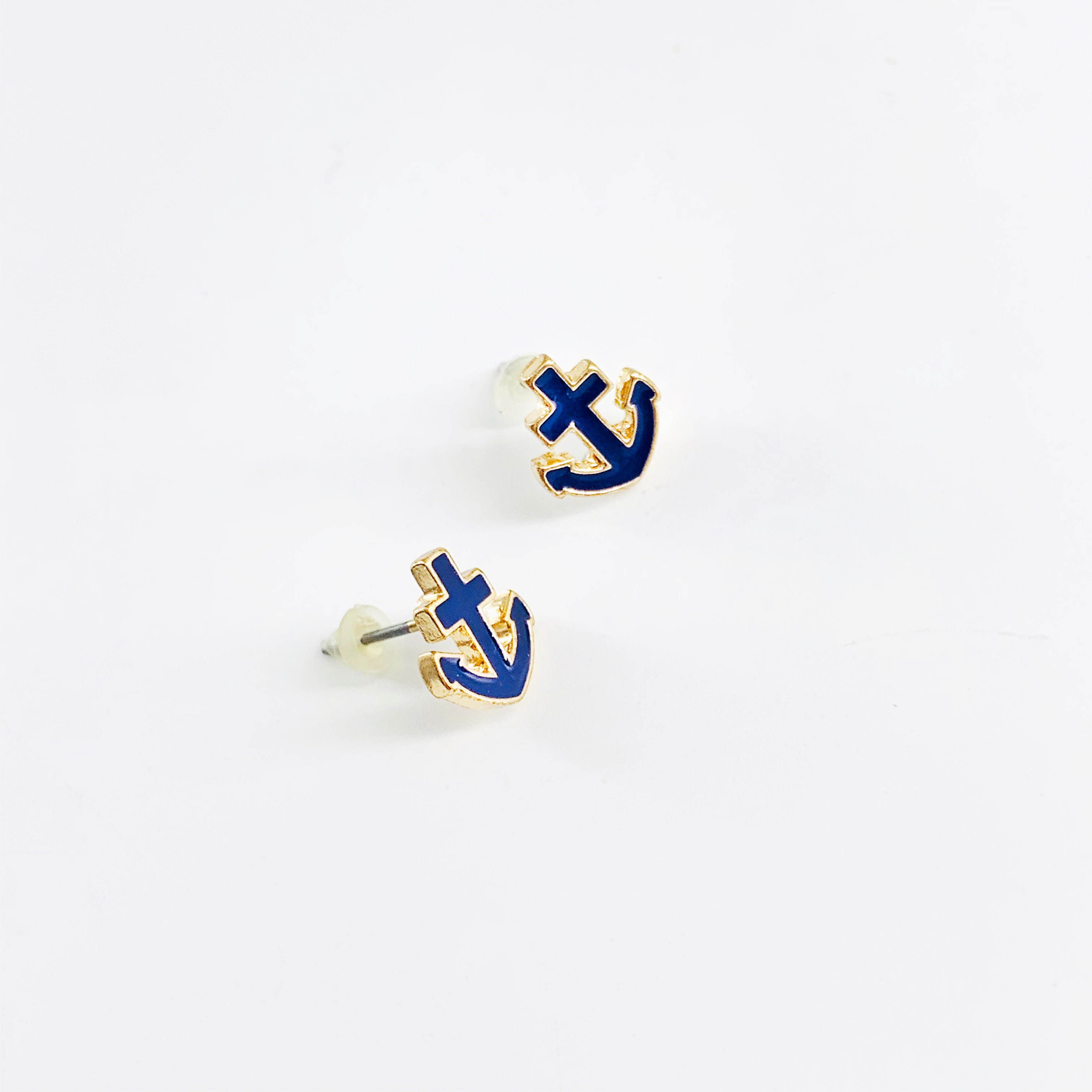 Anchor shaped navy earrings