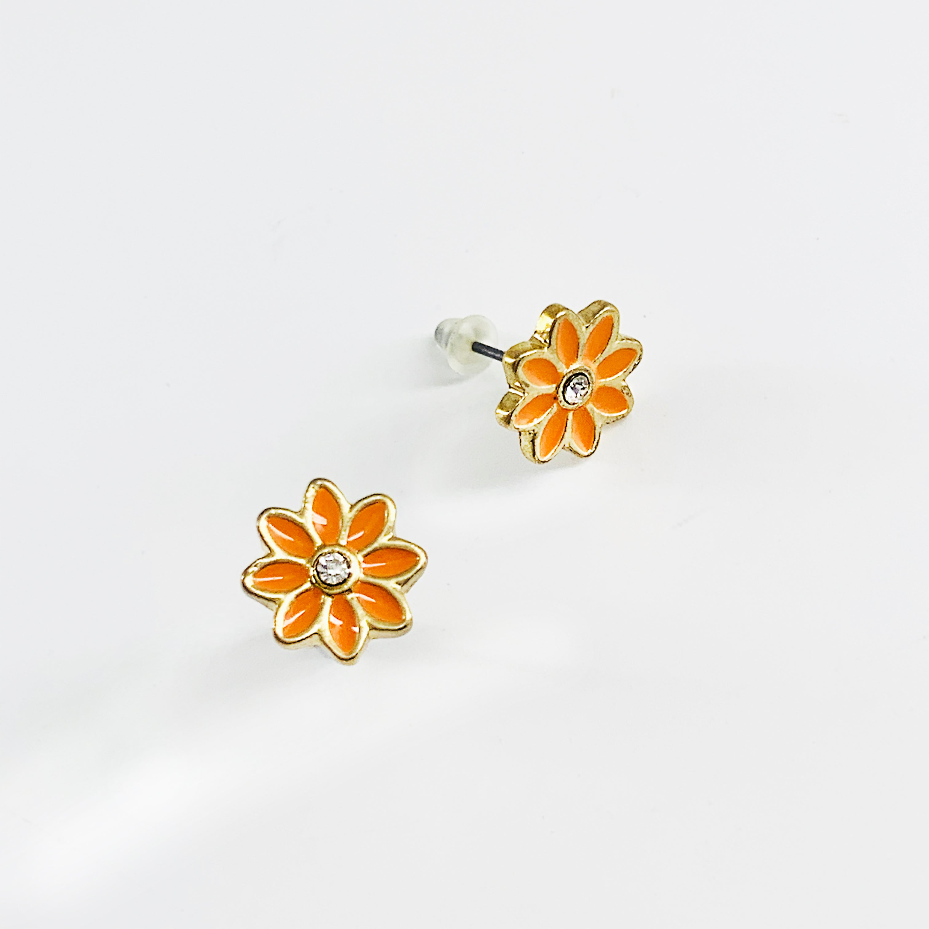Orange and gold flower ear studs