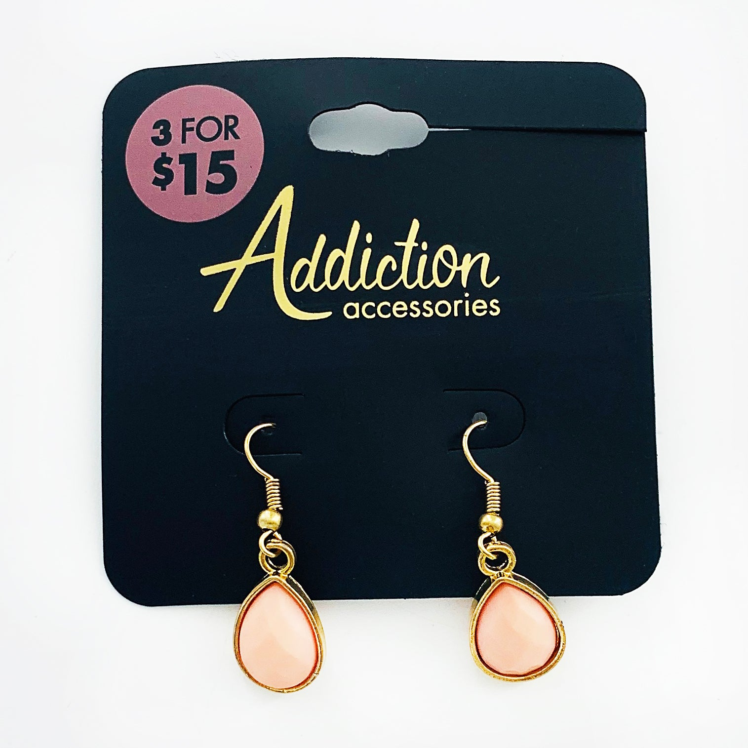 Dangling gold and pink facet earrings