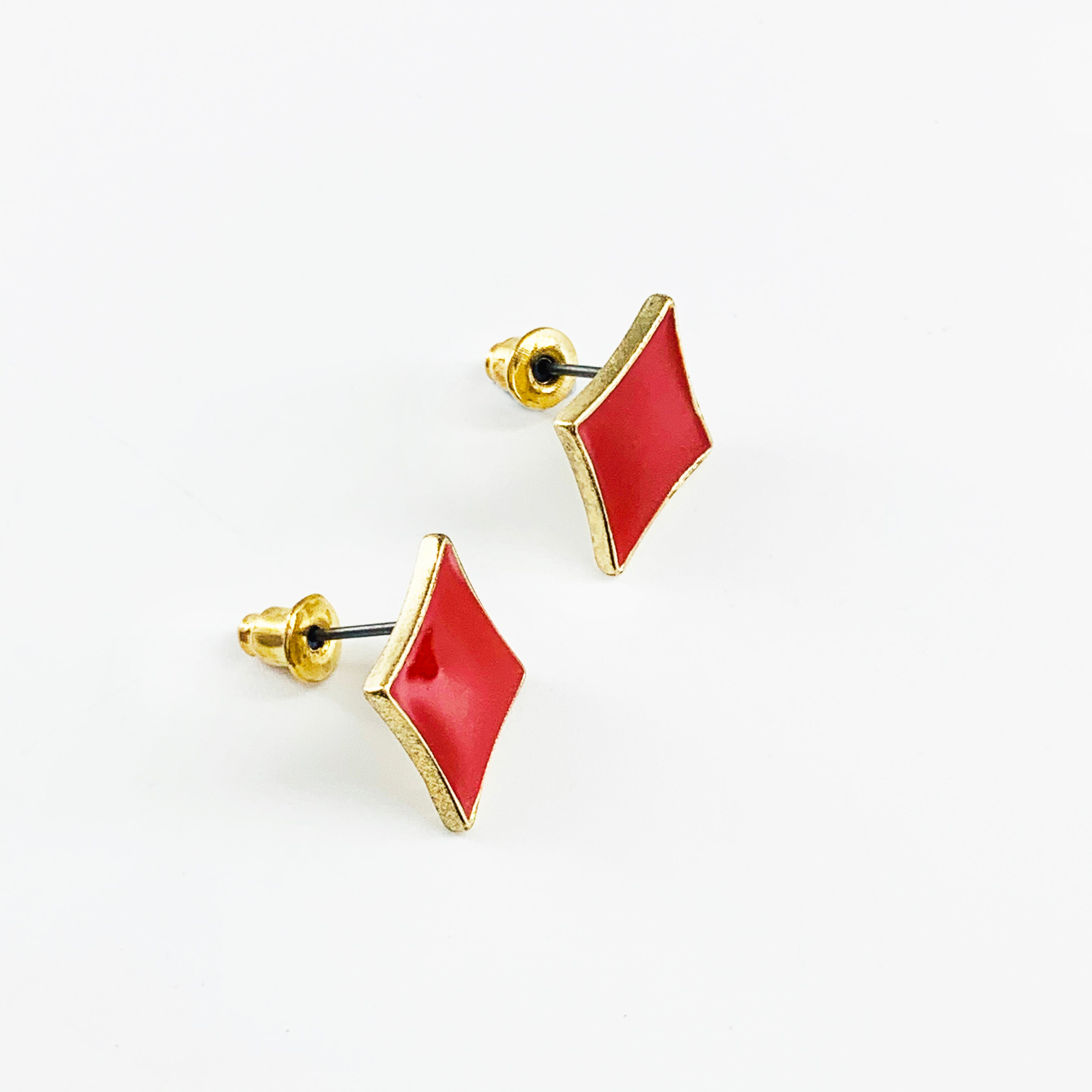 Red enamel printed earrings