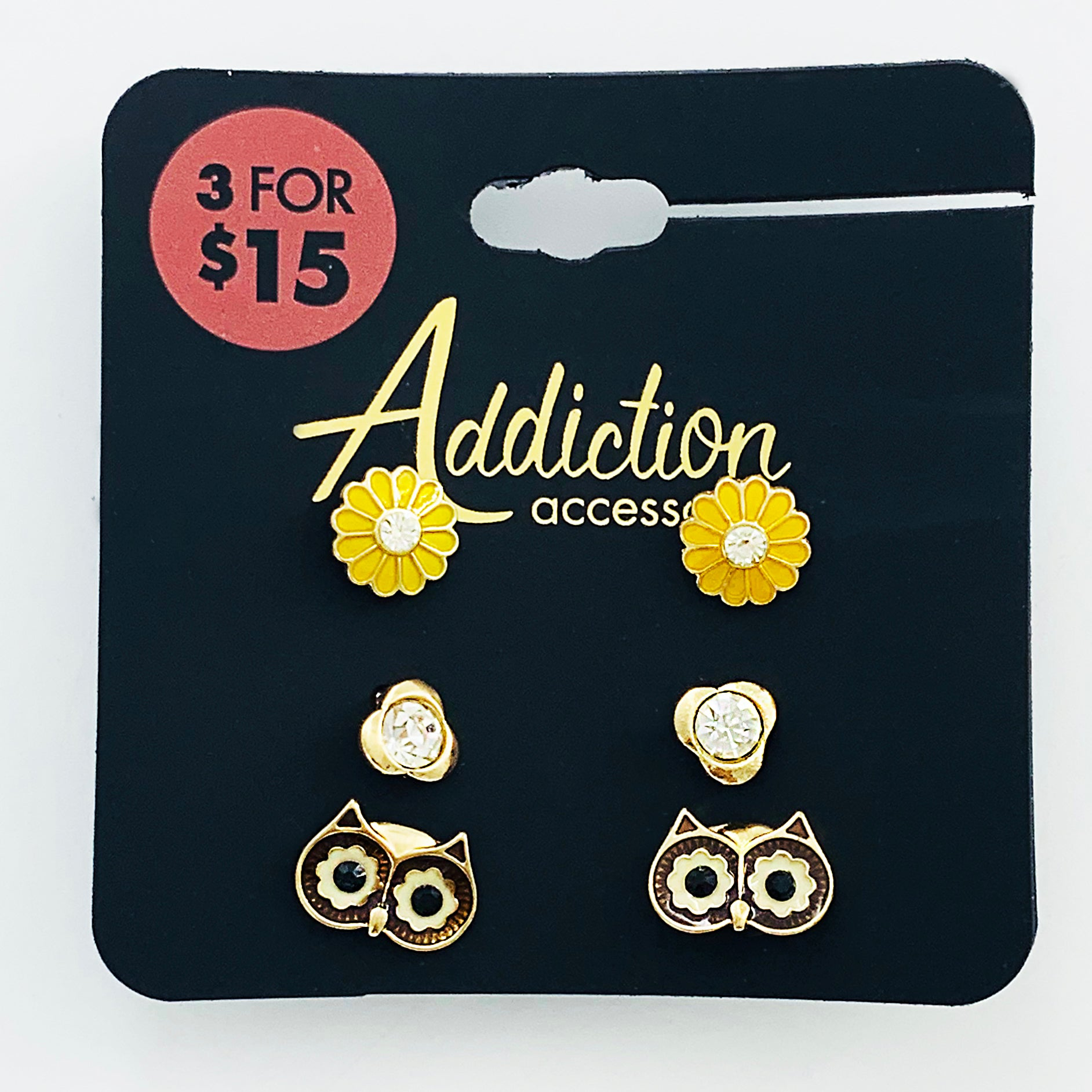 Owl and yellow flower ear studs