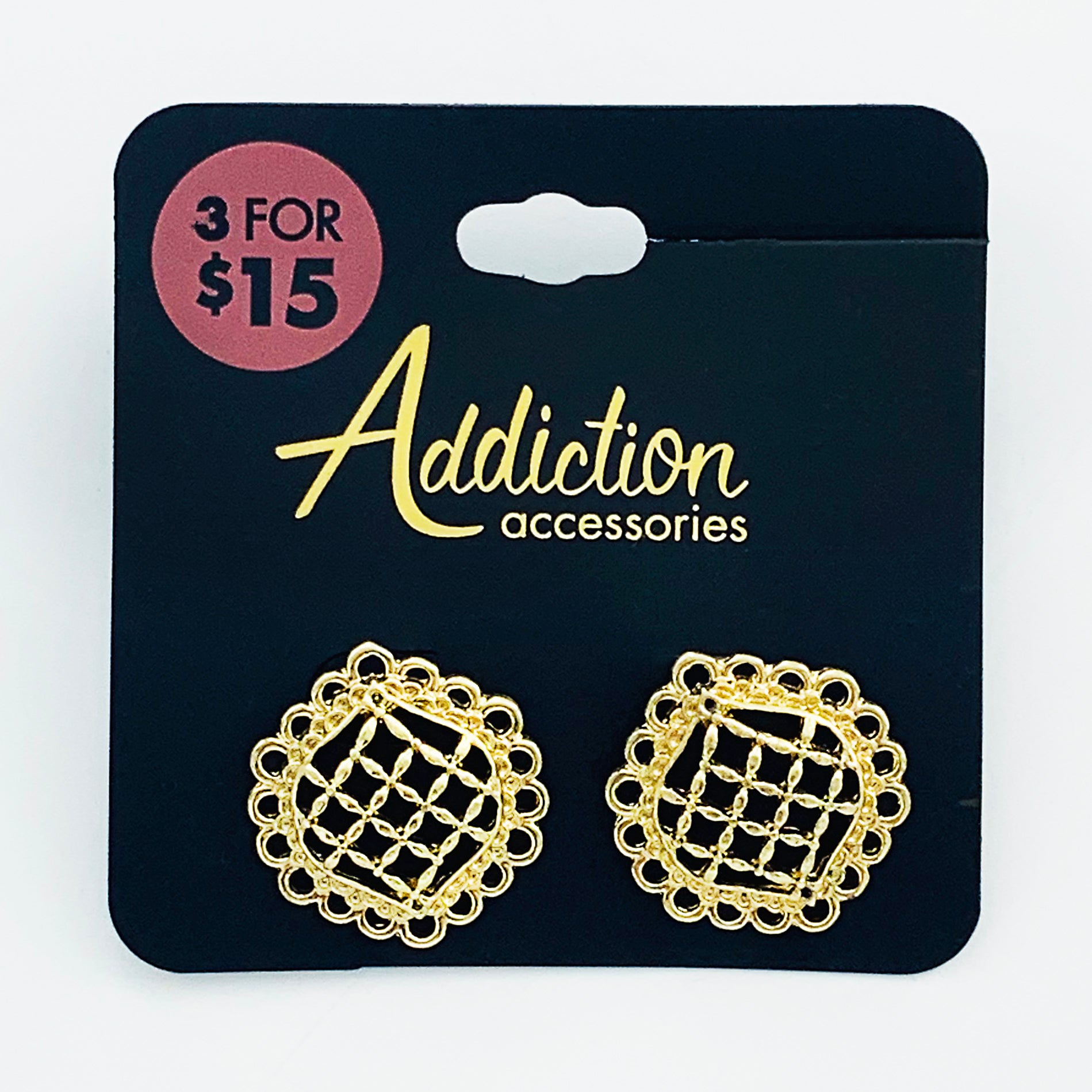 Gold lattice pattern earrings
