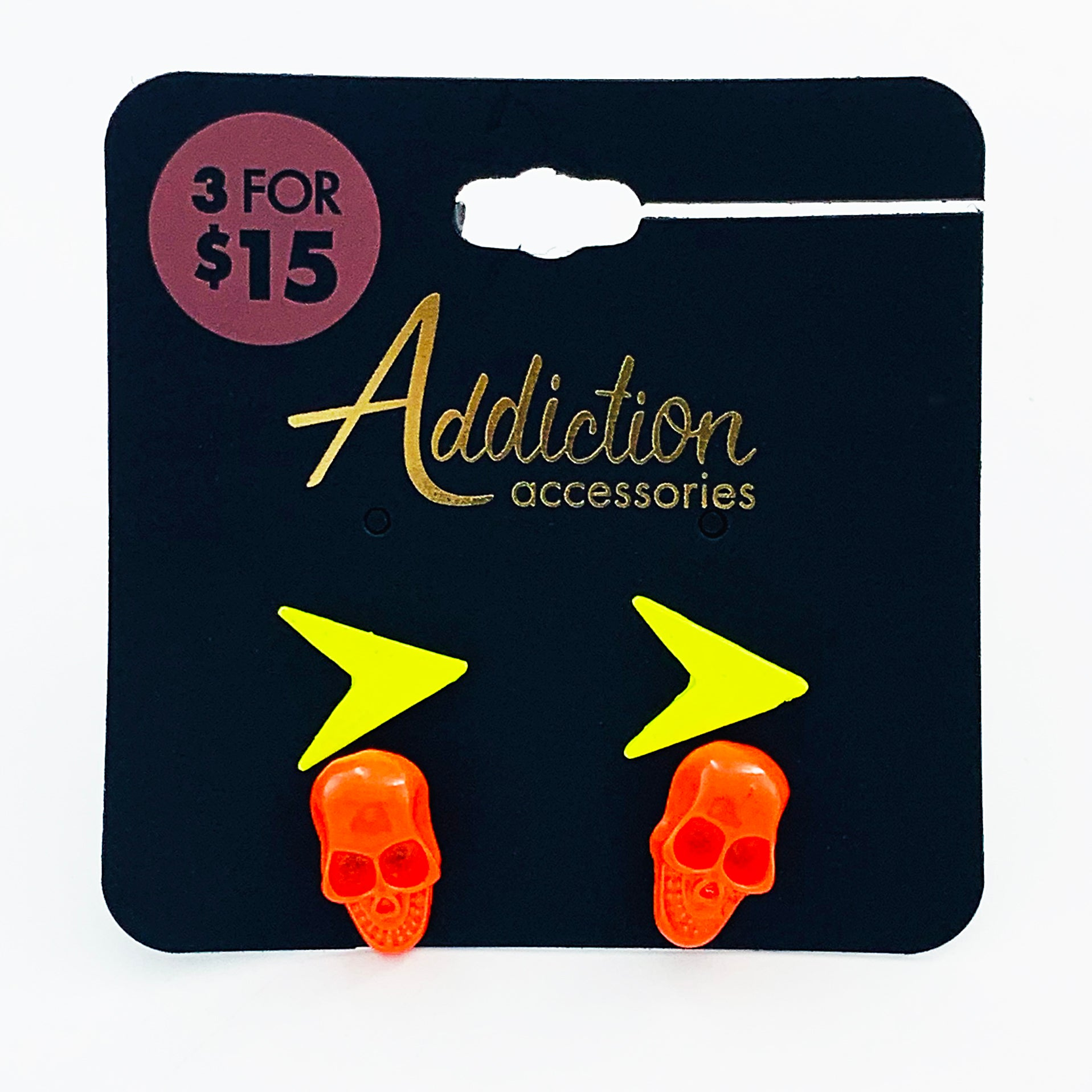Neon yellow and orange skull and arrow earrings