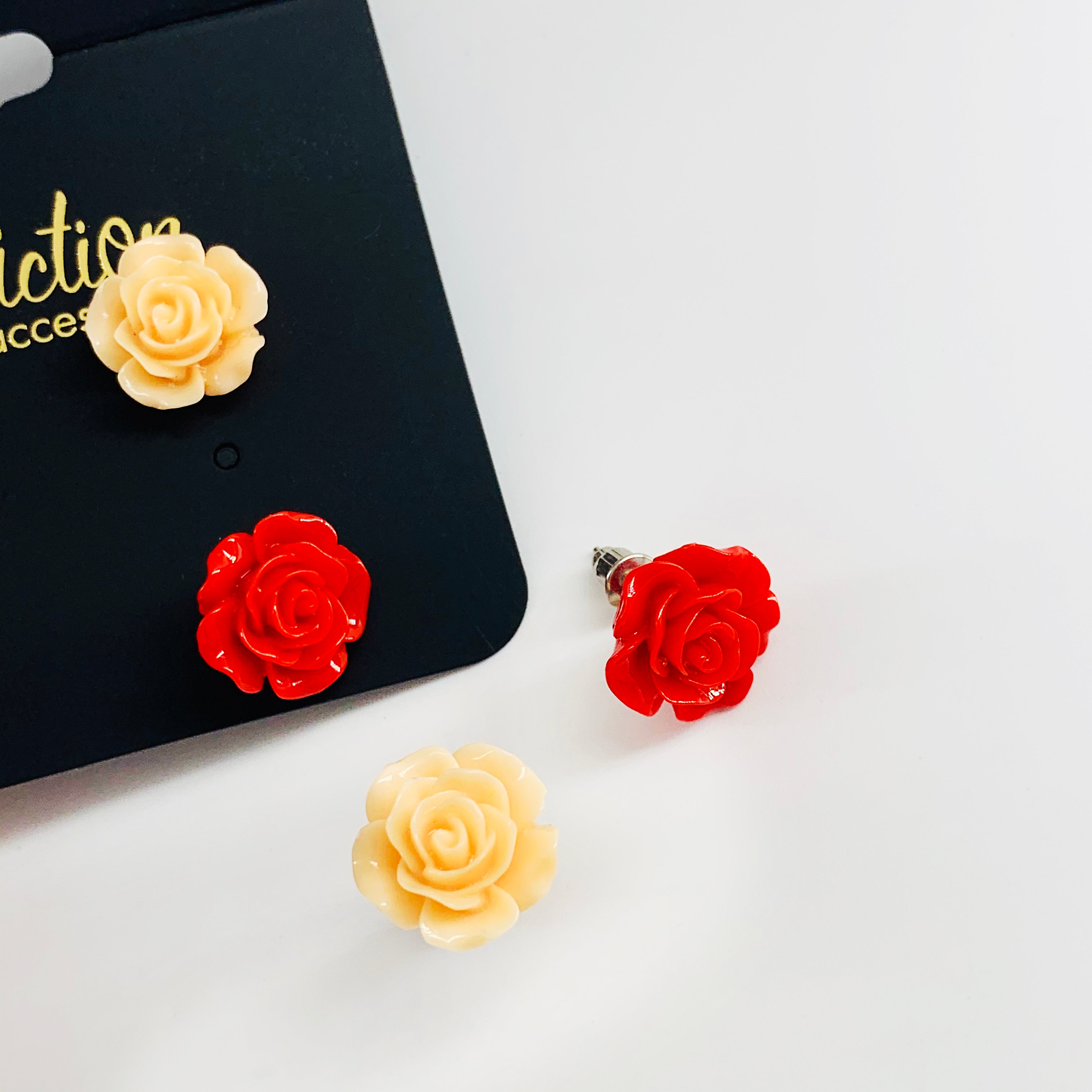 Cream and rose earrings