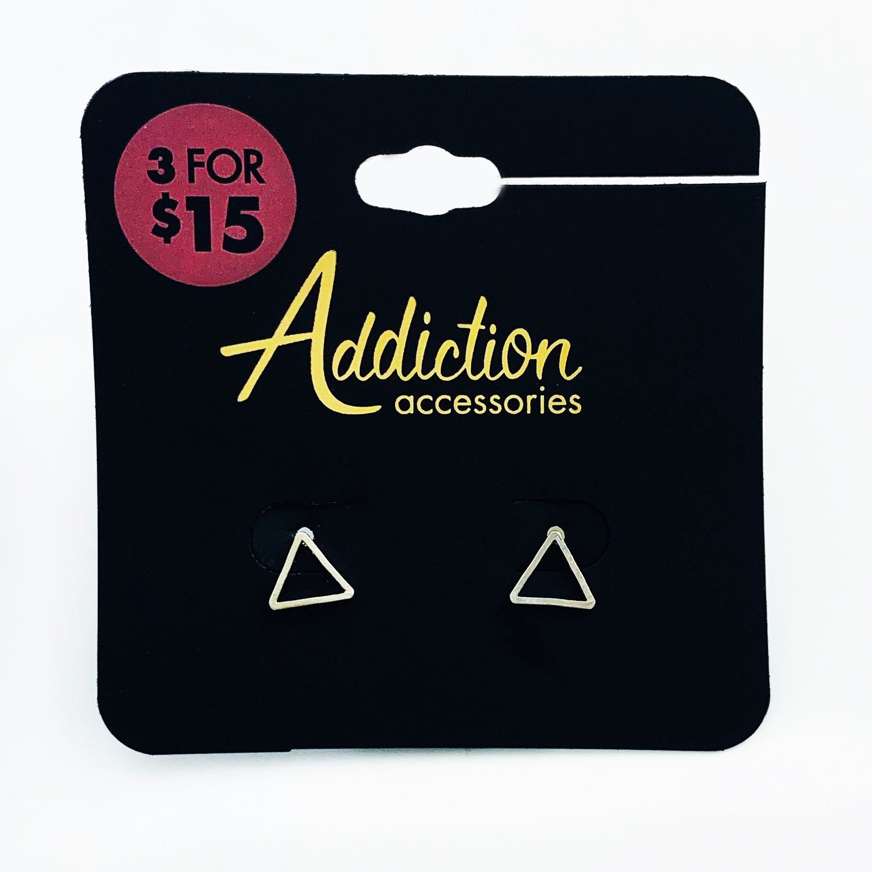 Small silver triangle ear studs