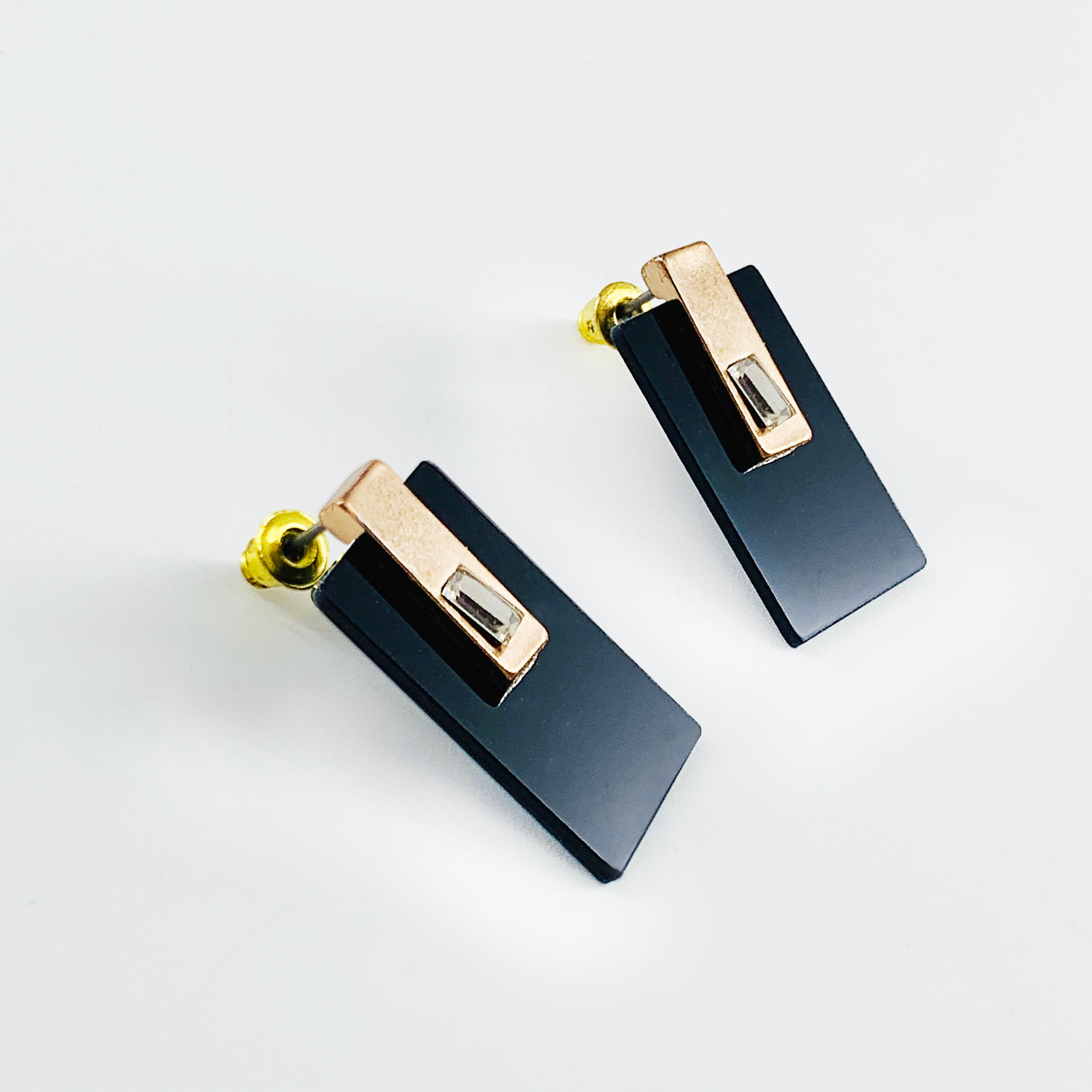 Black acrylic earrings with gold accent