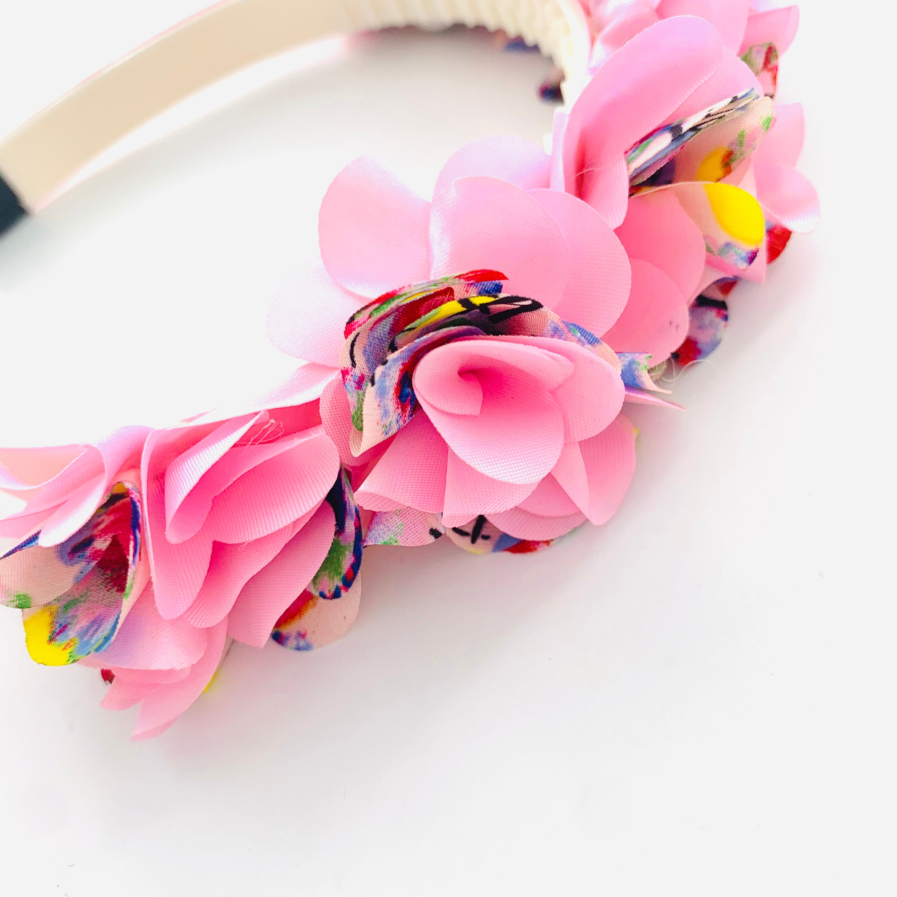 Pink floral Hairband with lush pink fabric flowers