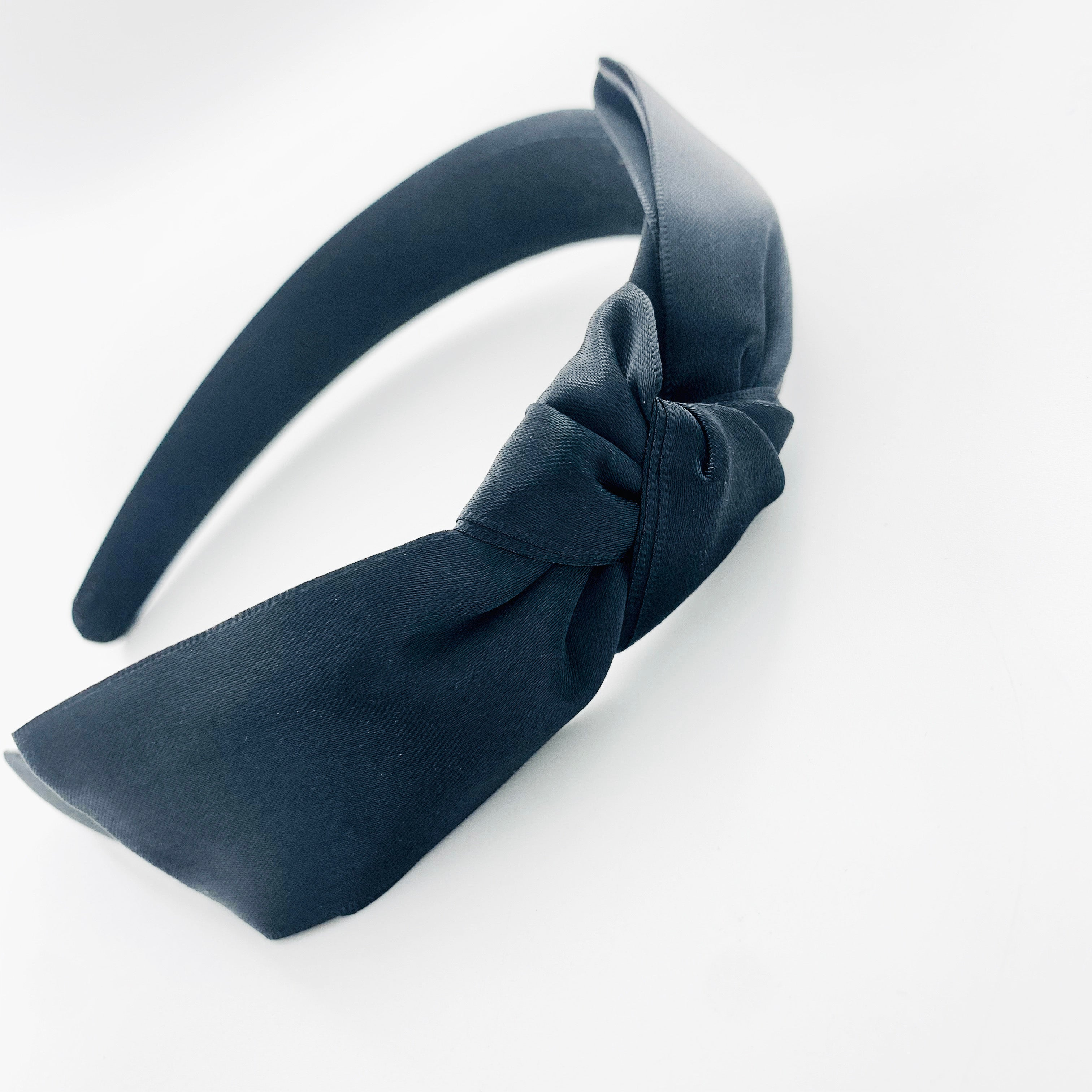 Thick black fabric hairband with black satin ribbon
