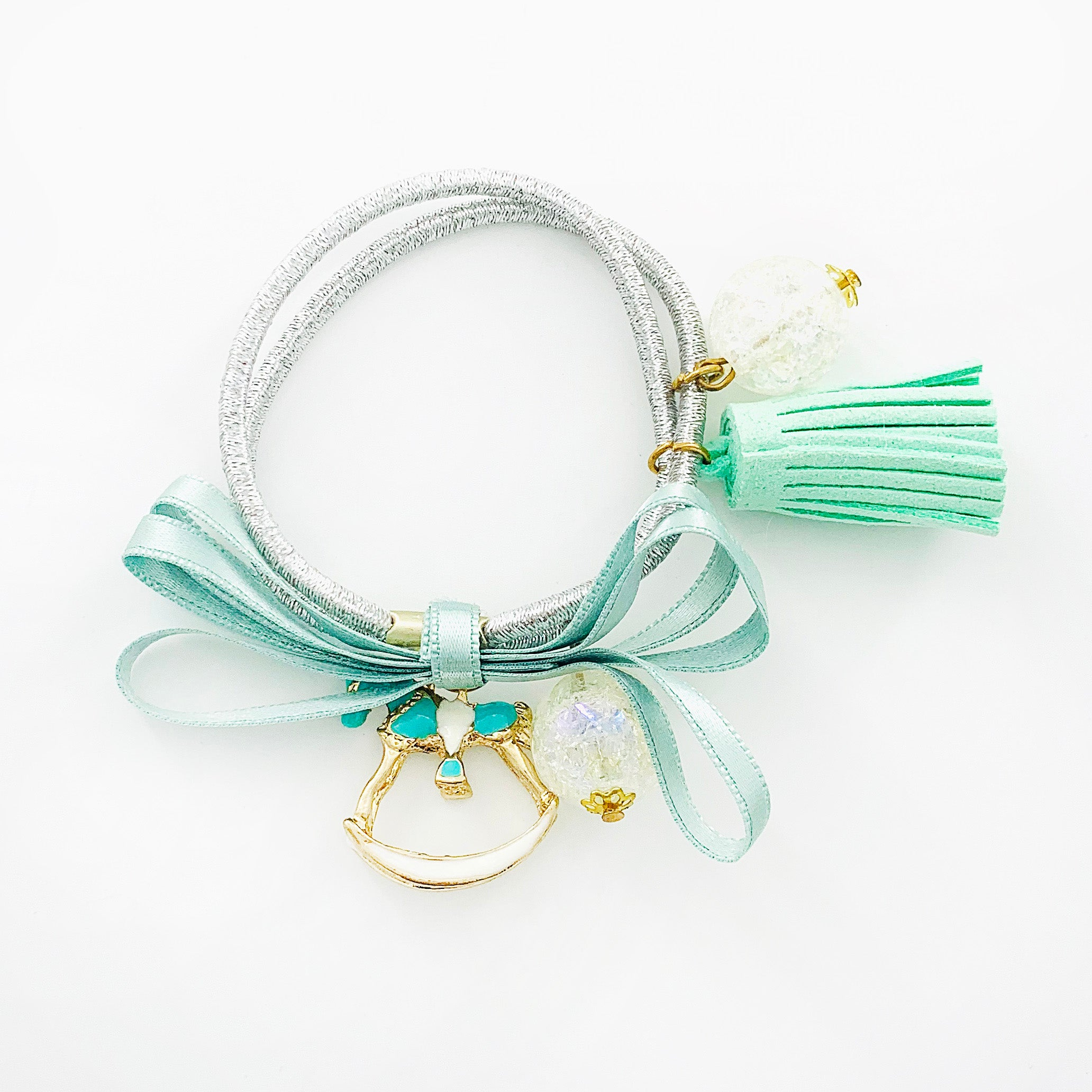 Hair tie with Mint Green tassel and gold horse charm