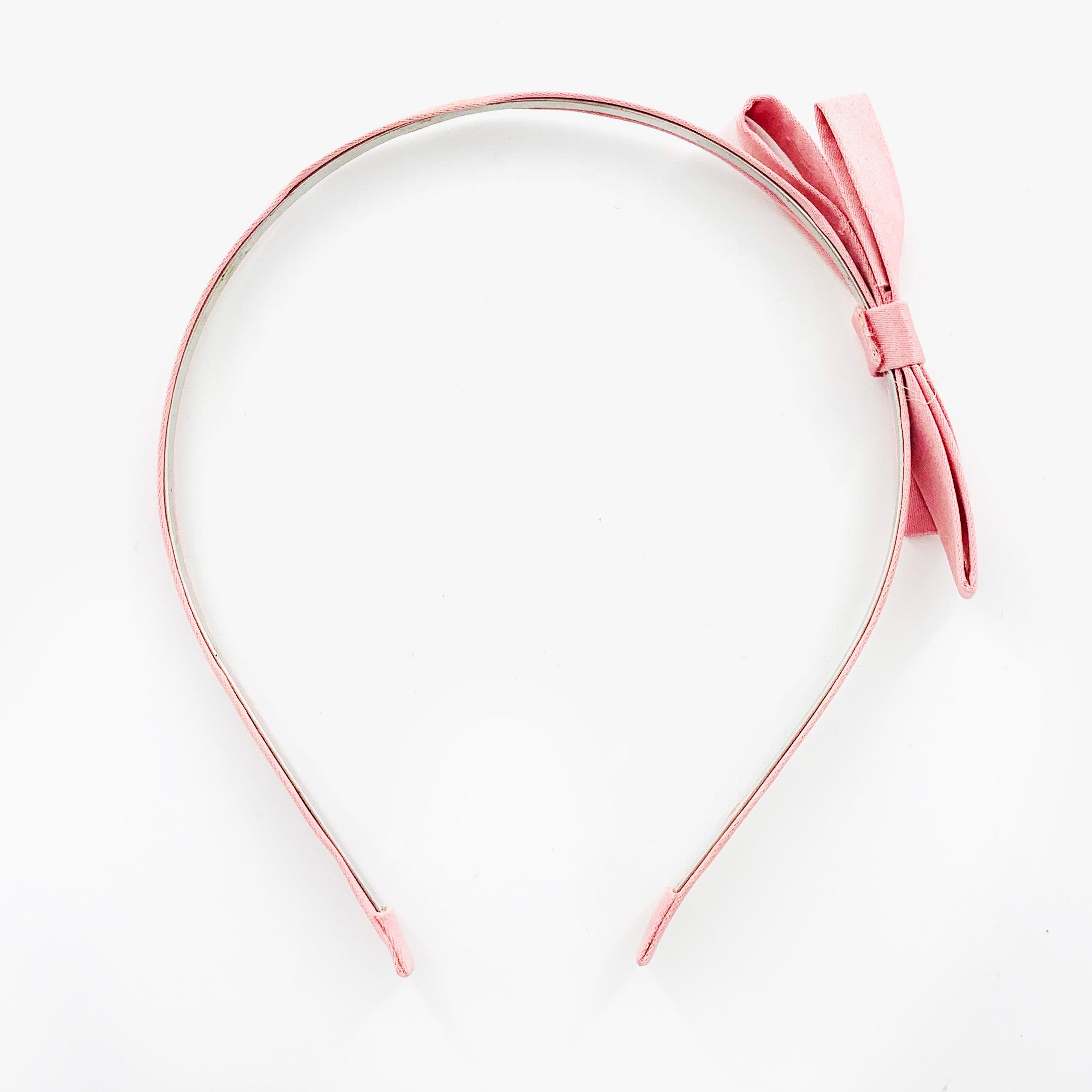 Thin coral pink fabric hairband with coral pink satin ribbon