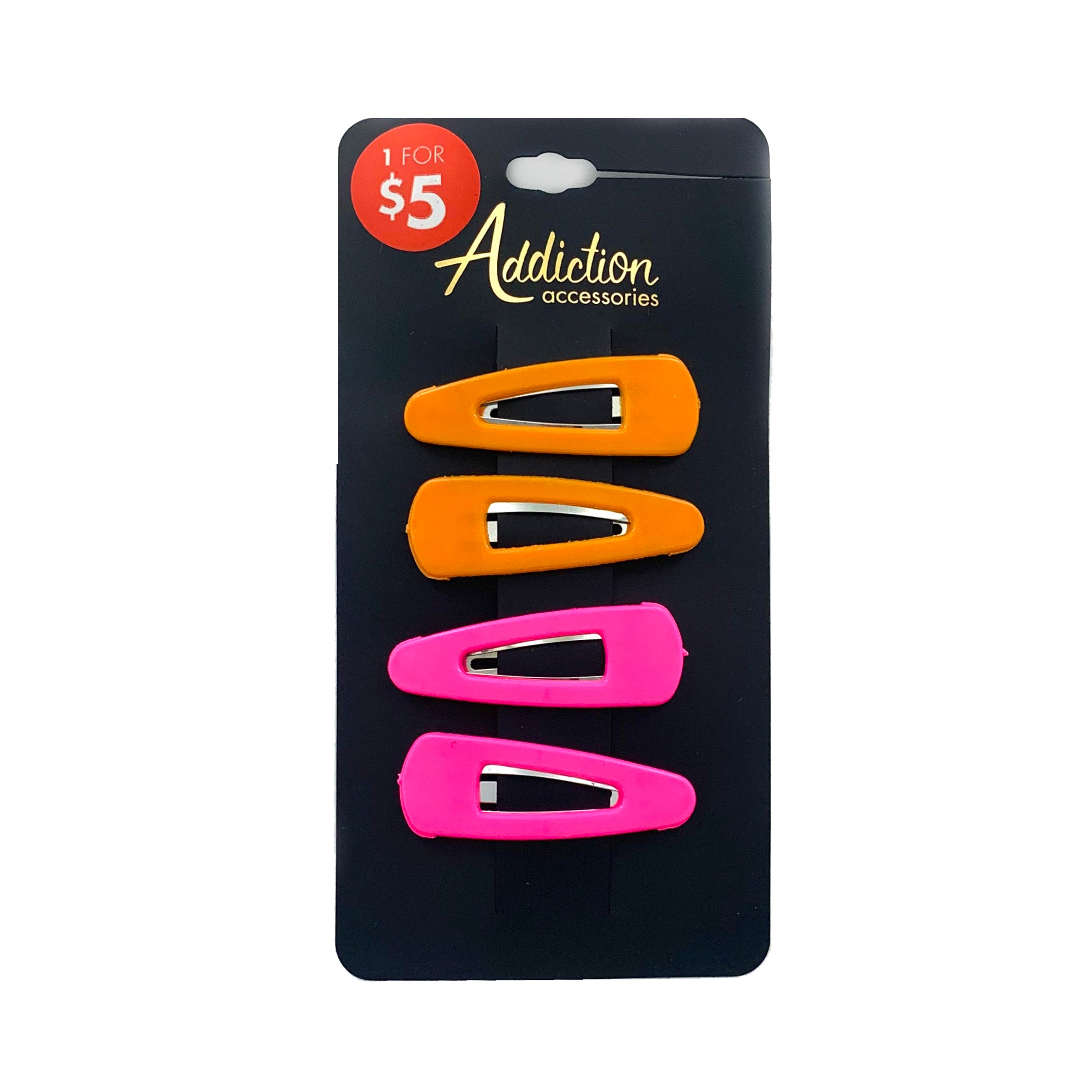Orange and Pink plastic coated hair clips