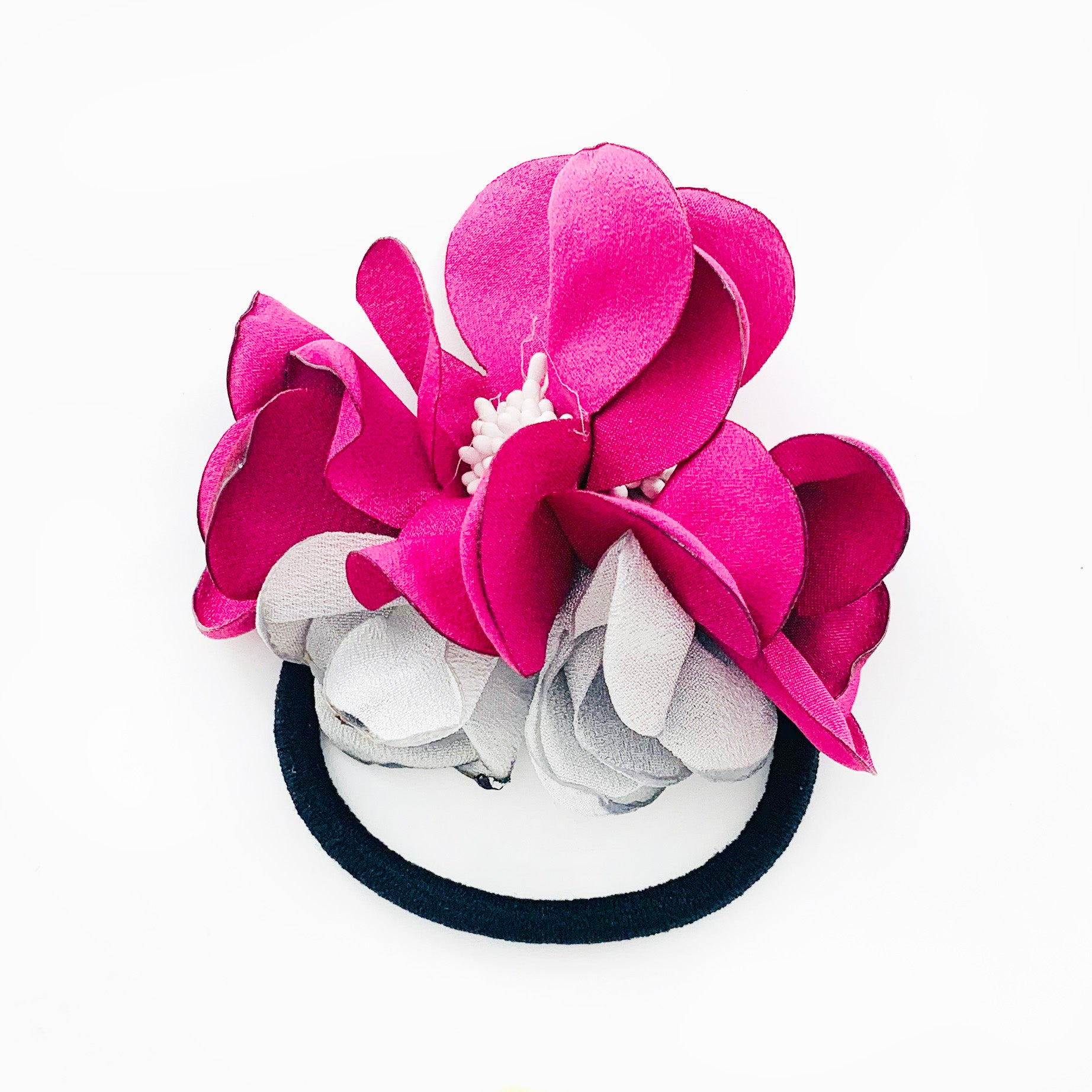 Hair tie with Dark Pink and Grey Fabric flowers