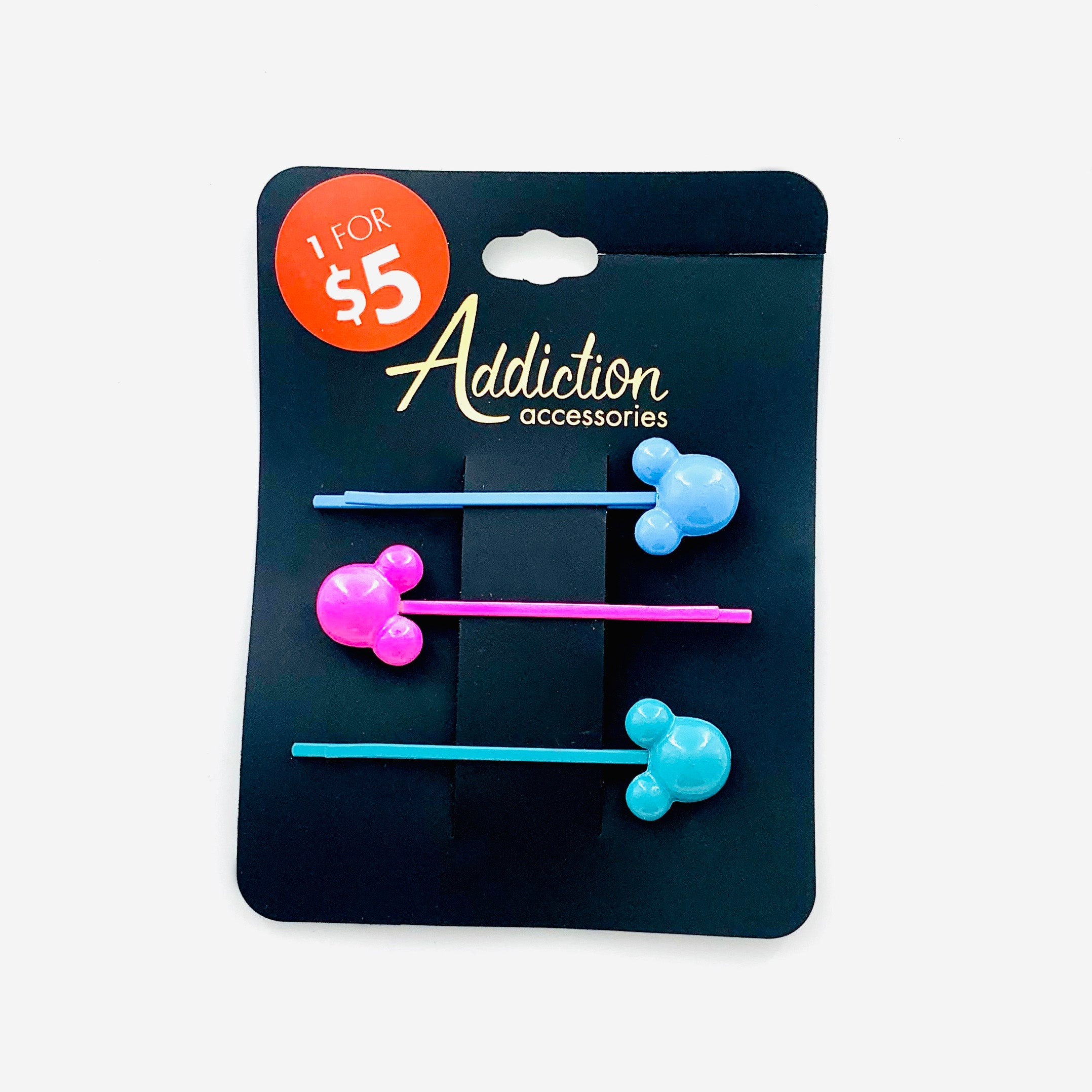 Teal, Blue and Hot Pink mouse metal hair clips