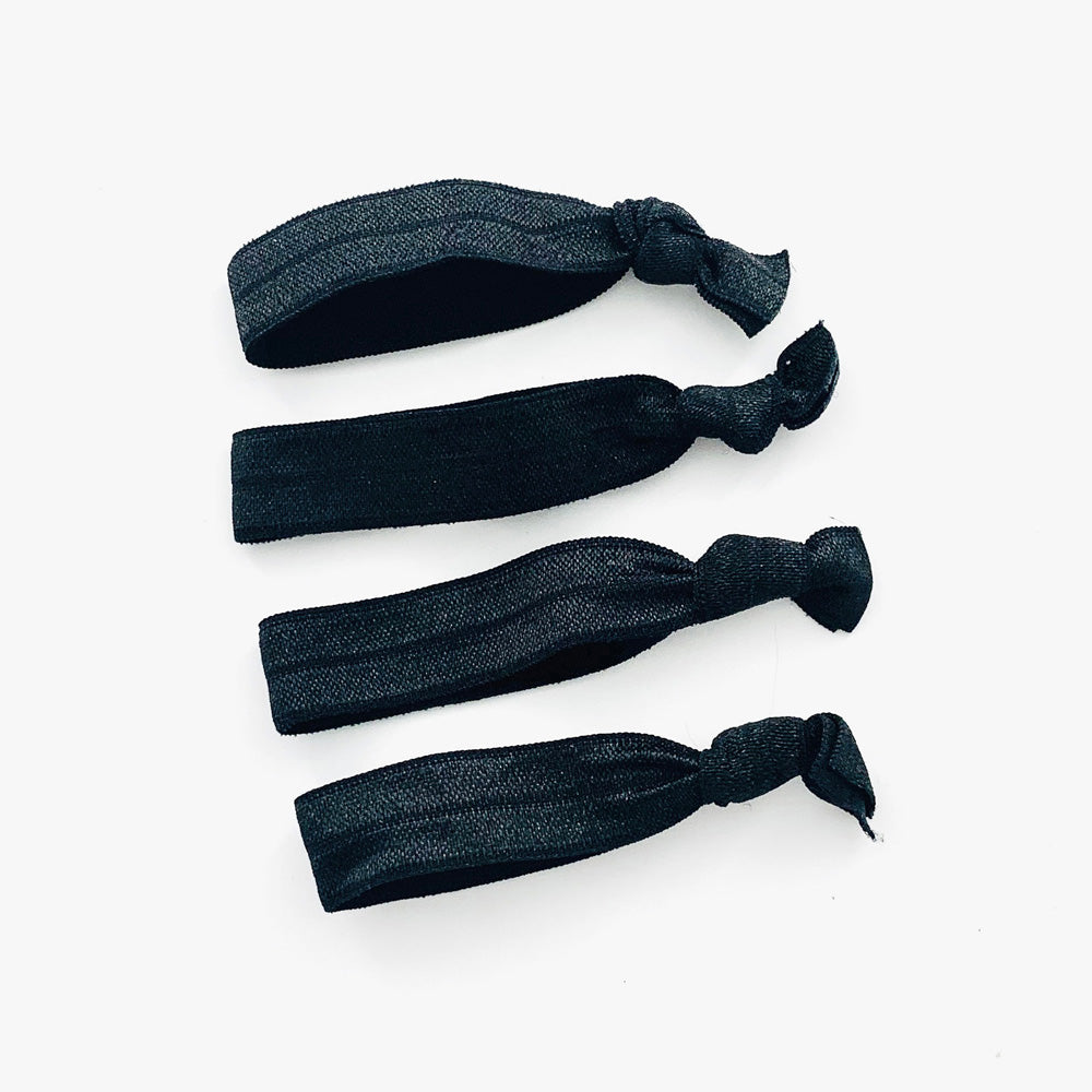 Fabric flat hair ties in black