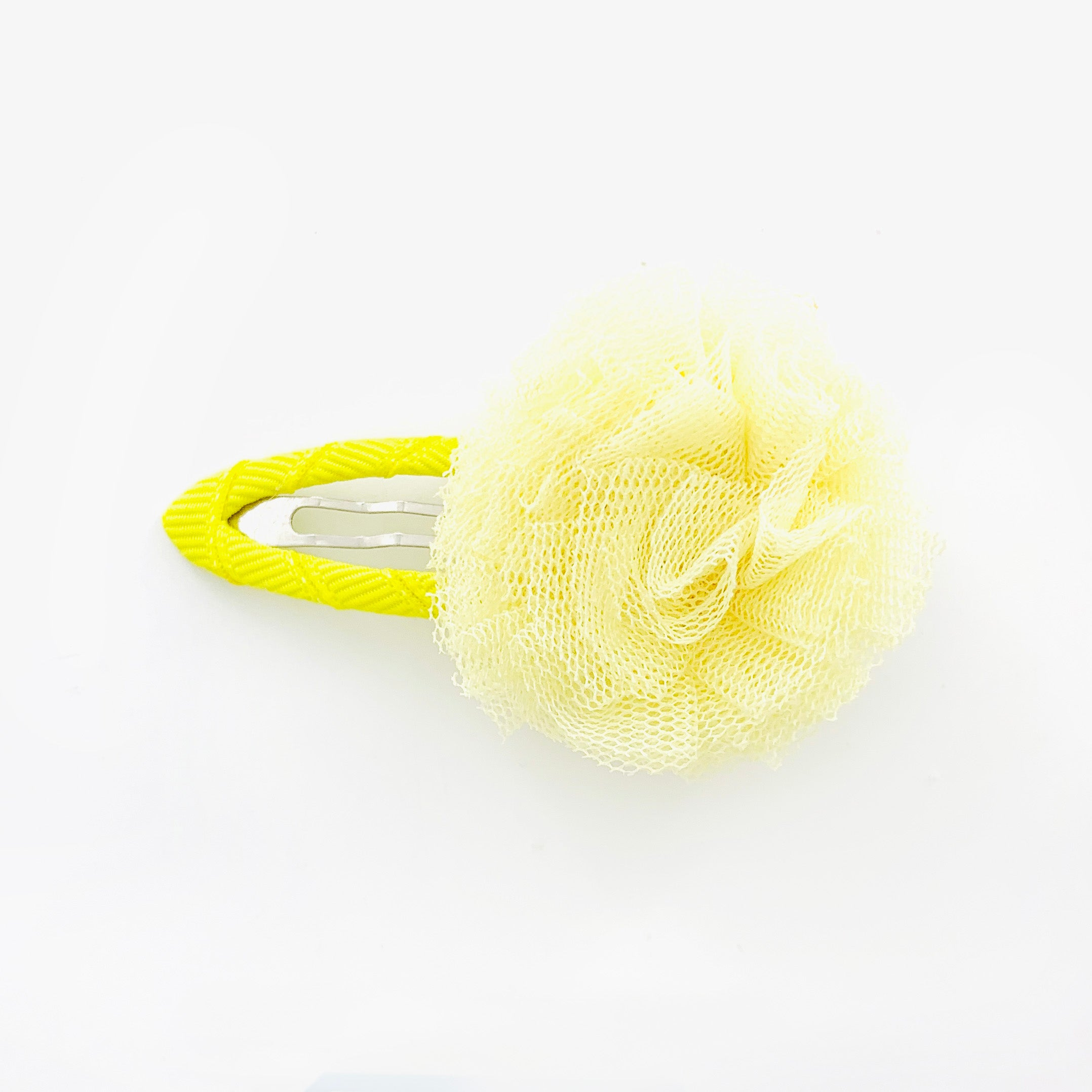 Hair clip with fluffy fabric yellow pom pom