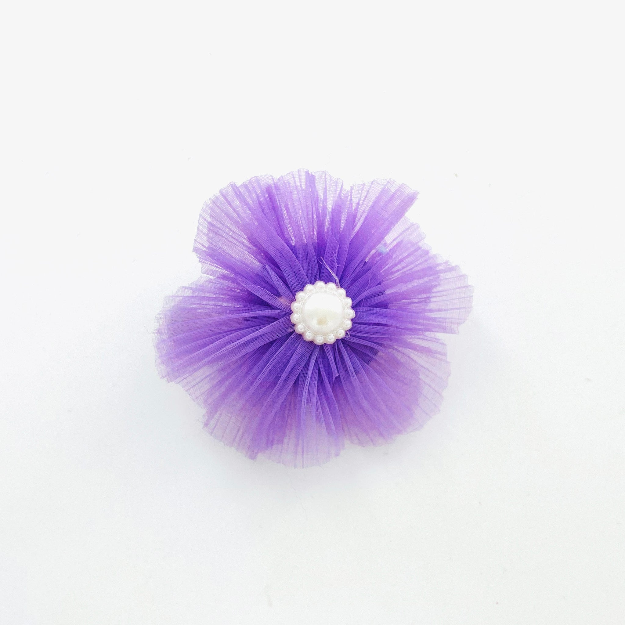 Hair clip with purple chiffon flower