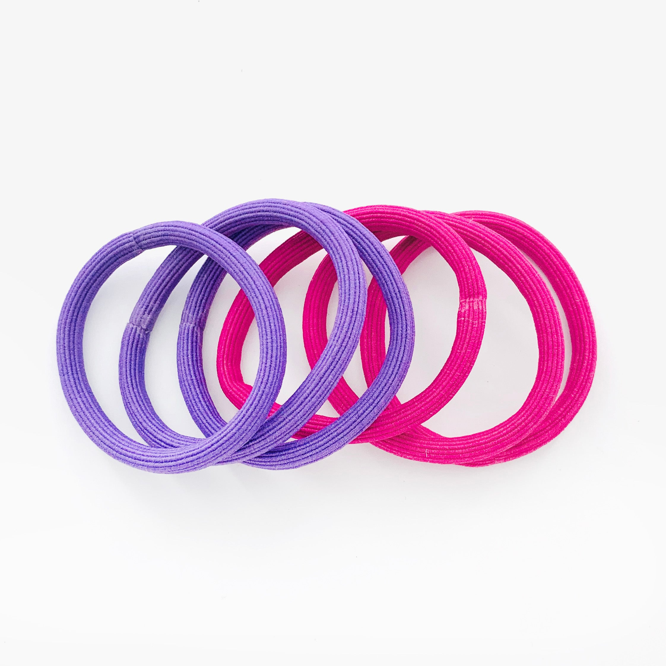 Rubber bands in purple and pink